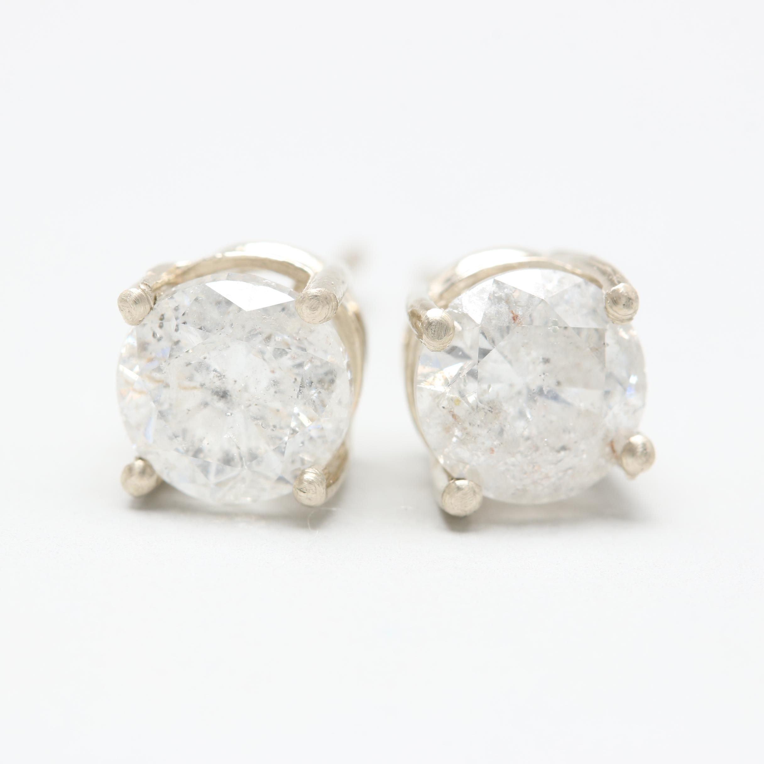 14K White Gold 1.45 CTW Diamond Earrings