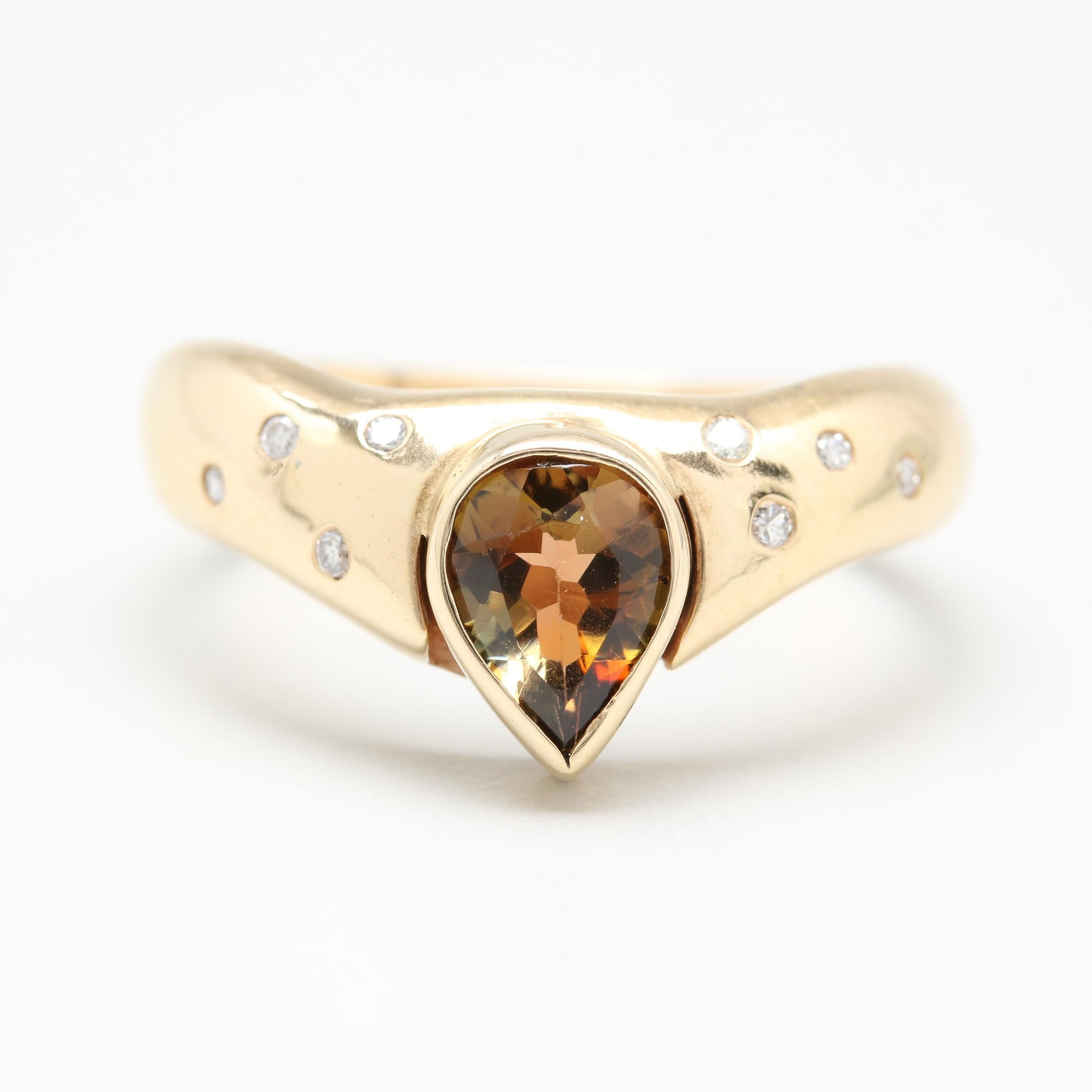 14K Yellow Gold Andalusite and Diamond Ring