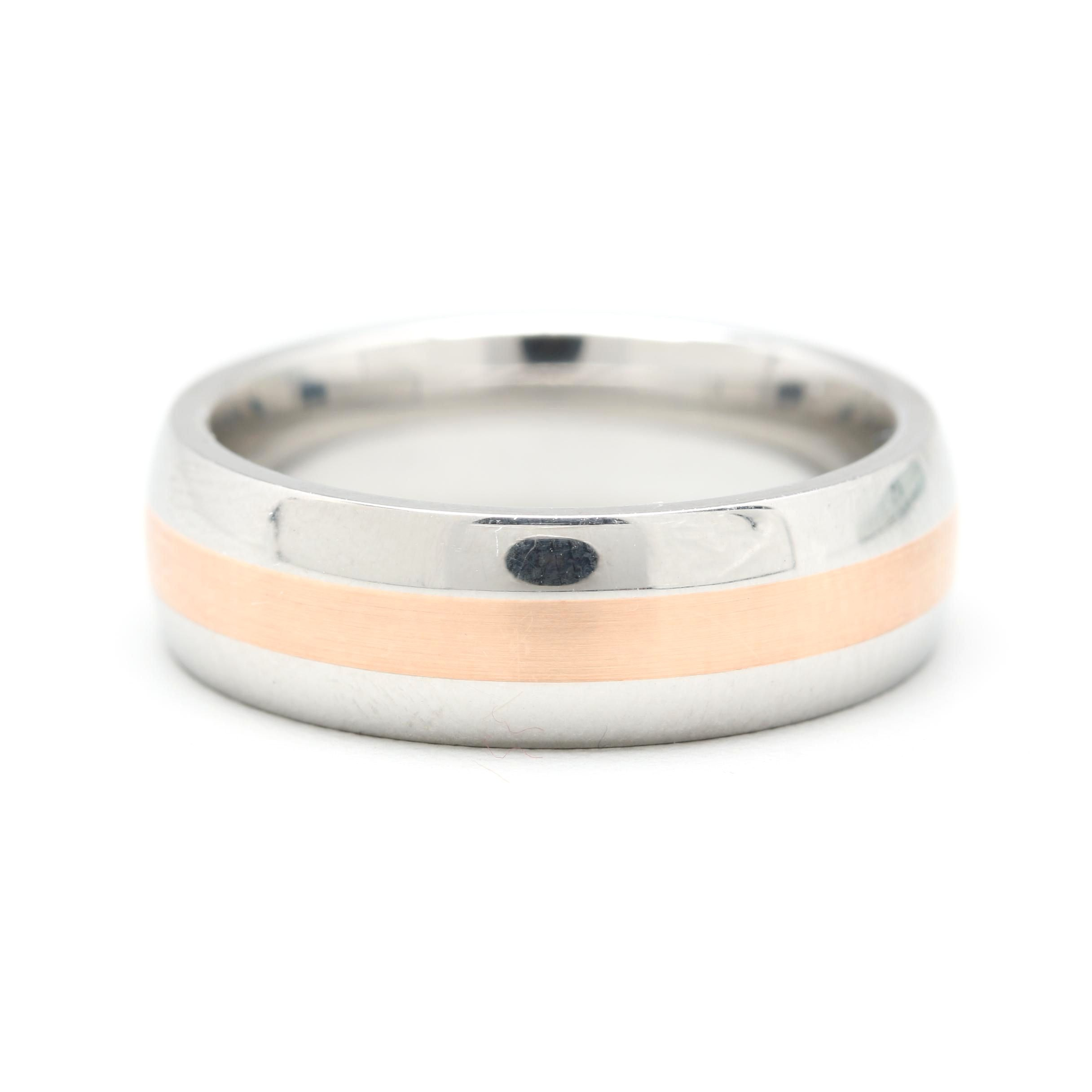 Stainless Steel and 14K Rose Gold Ring