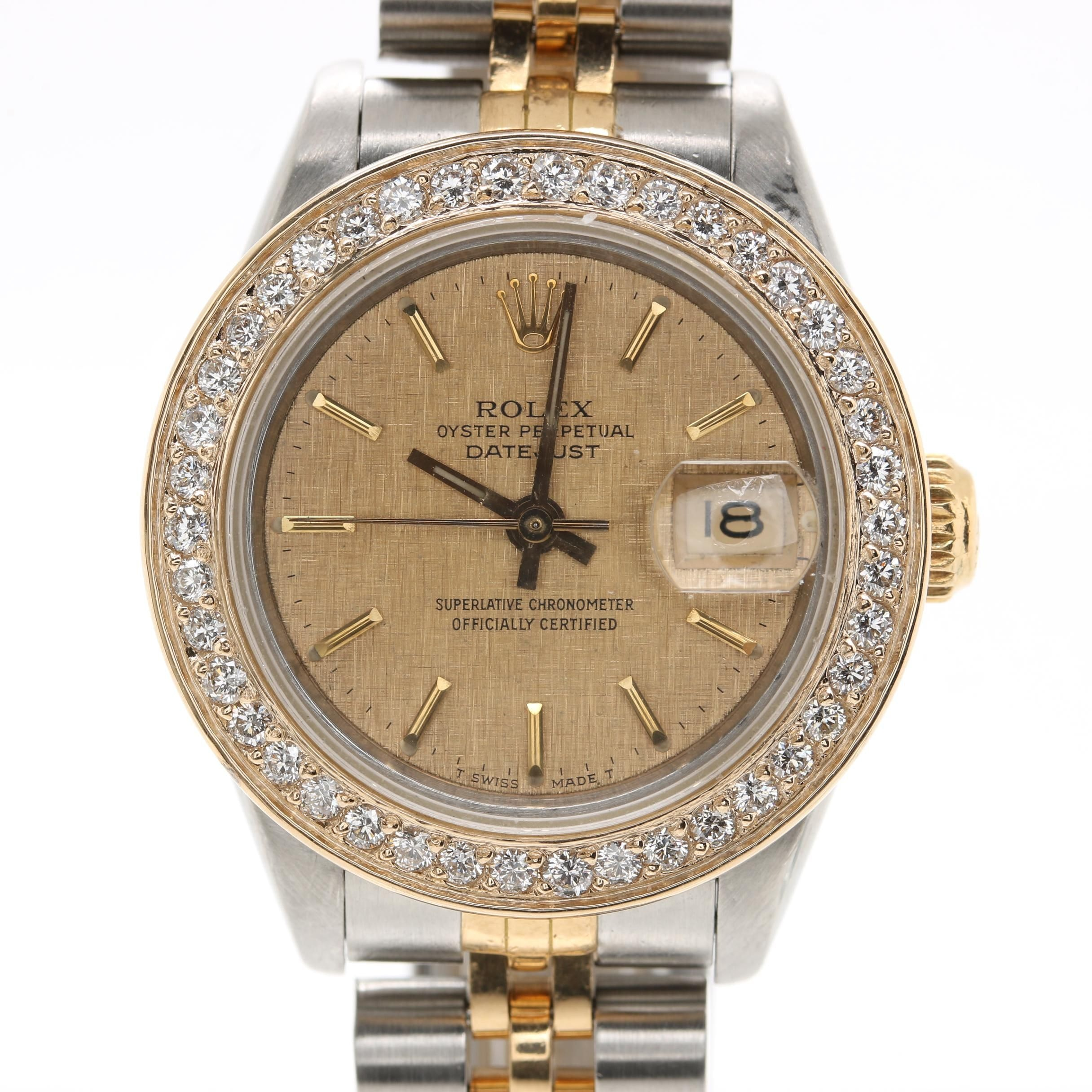 Circa 1987 Rolex Stainless Steel and 18K Yellow Gold Diamond Wristwatch