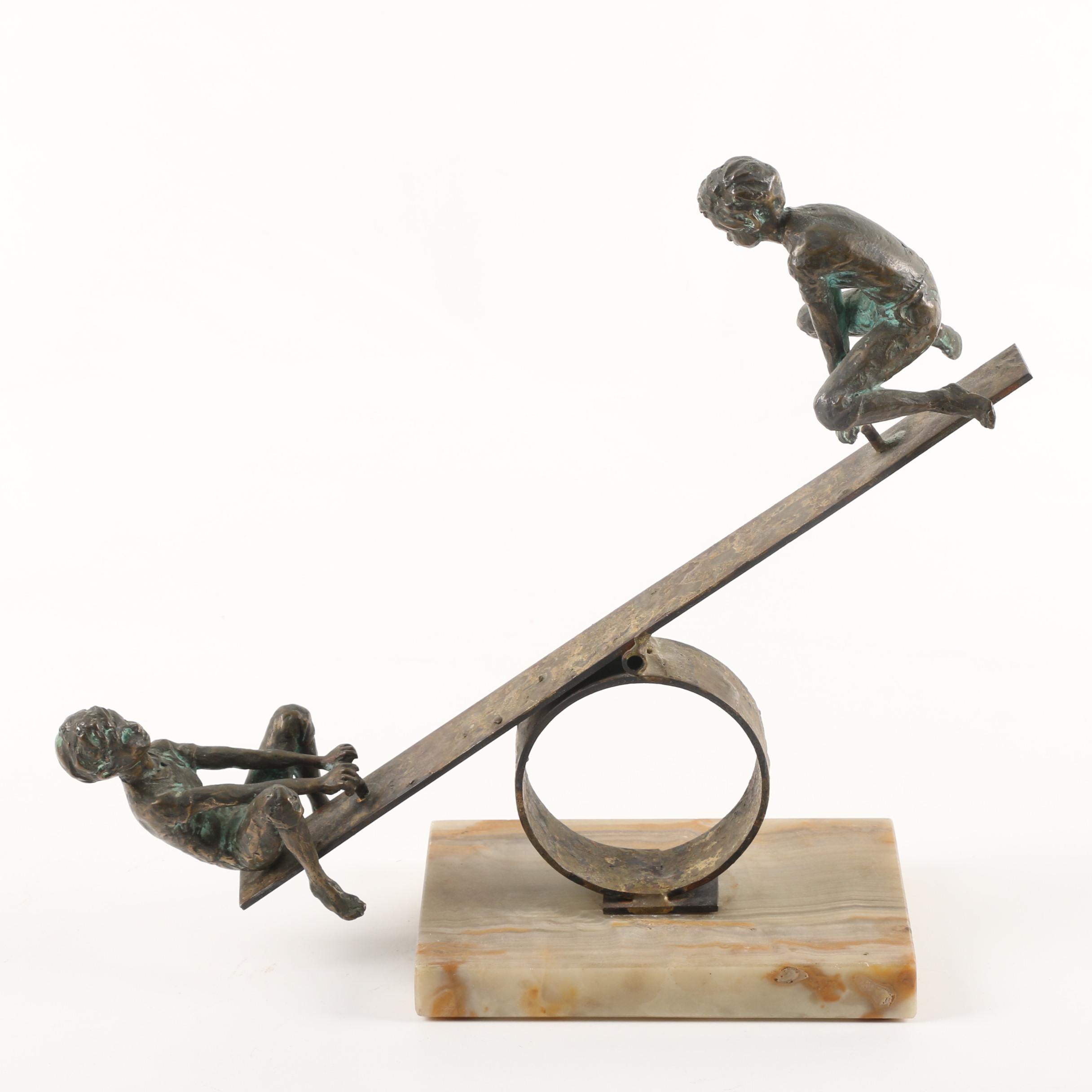 Curtis Jere Artisan House Brass Sculpture of Children