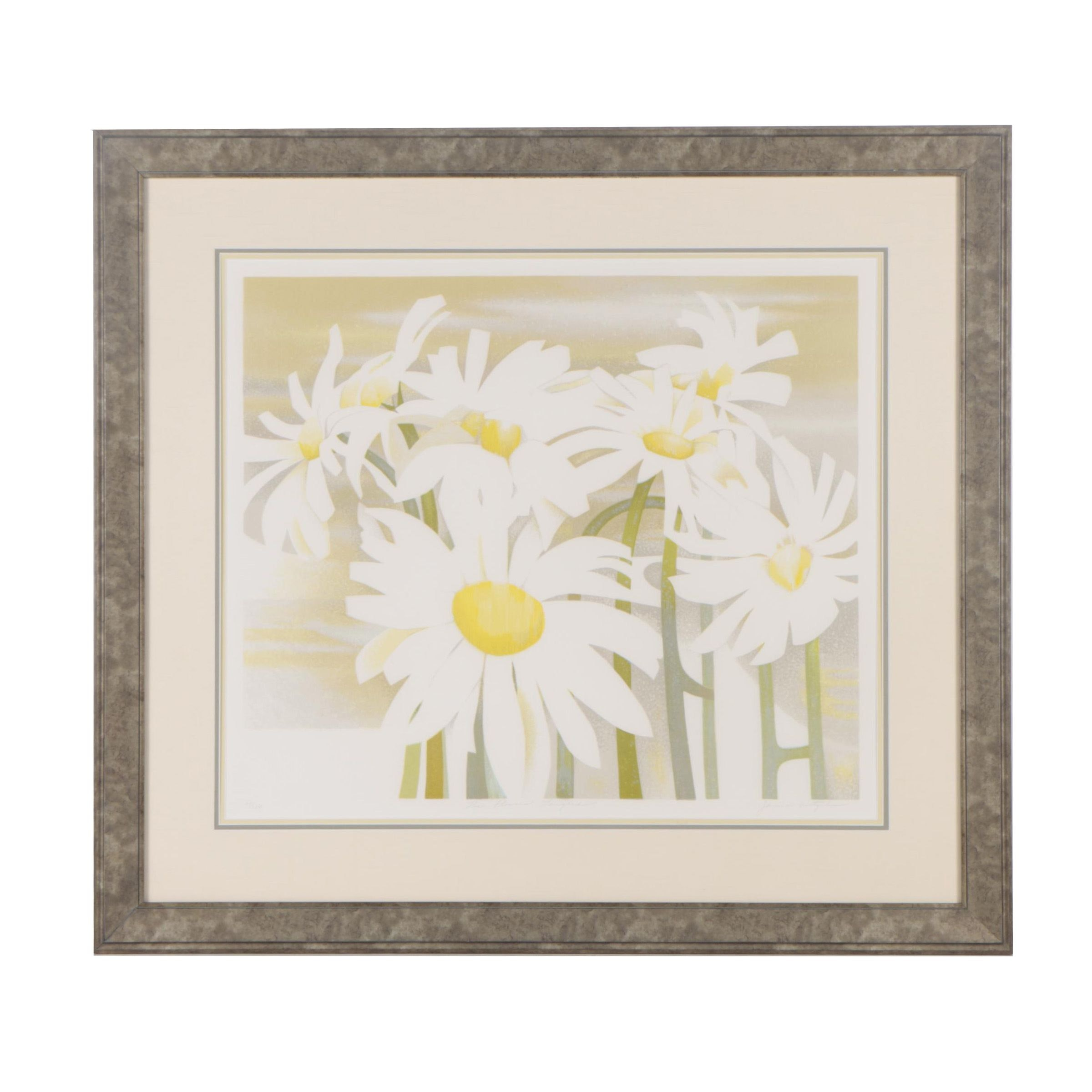 "Janice Wetzel Limited Edition Color Lithograph ""The Flowers Laughed"""