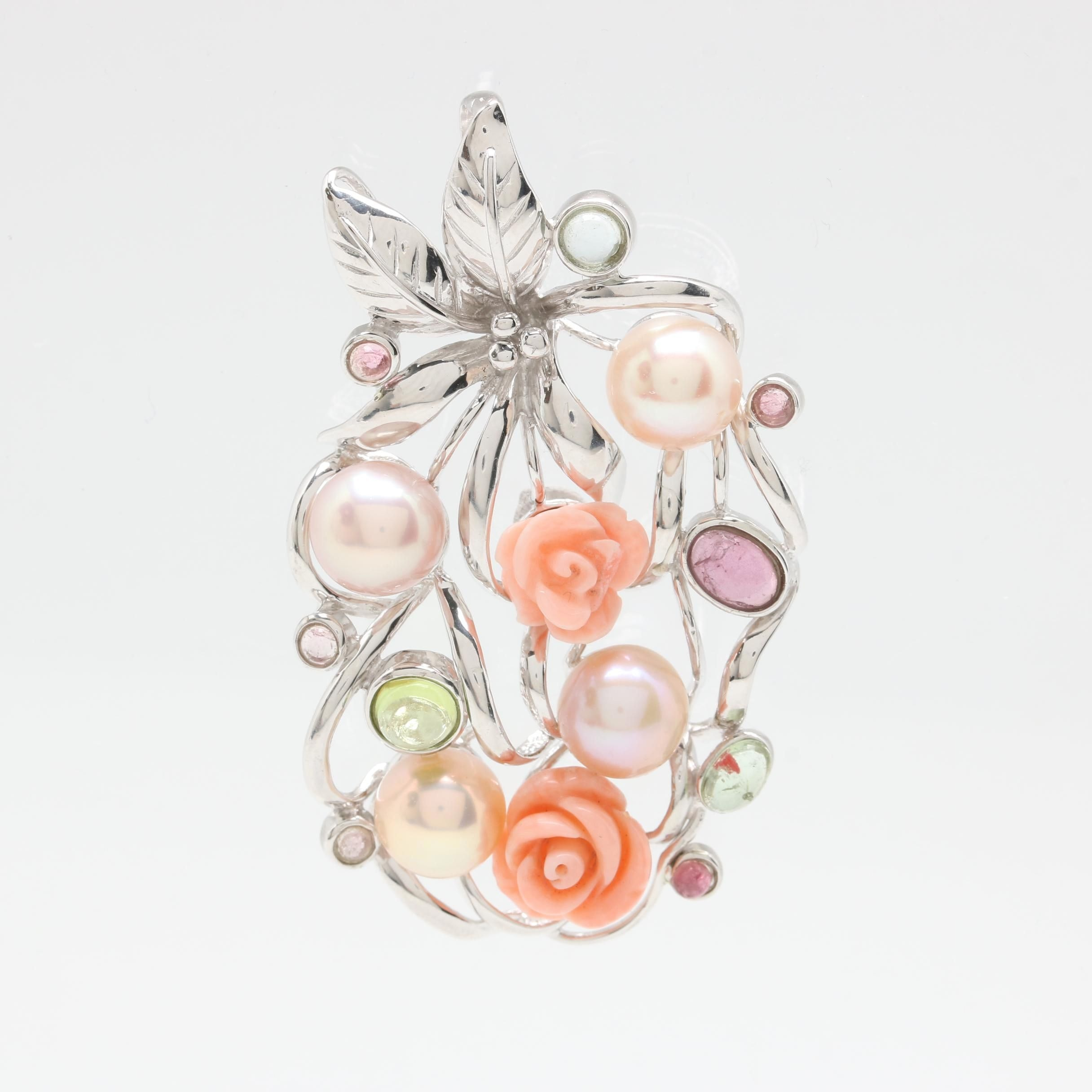 Sterling Silver Cultured Pearl, Carved Coral and Gemstone Pendant