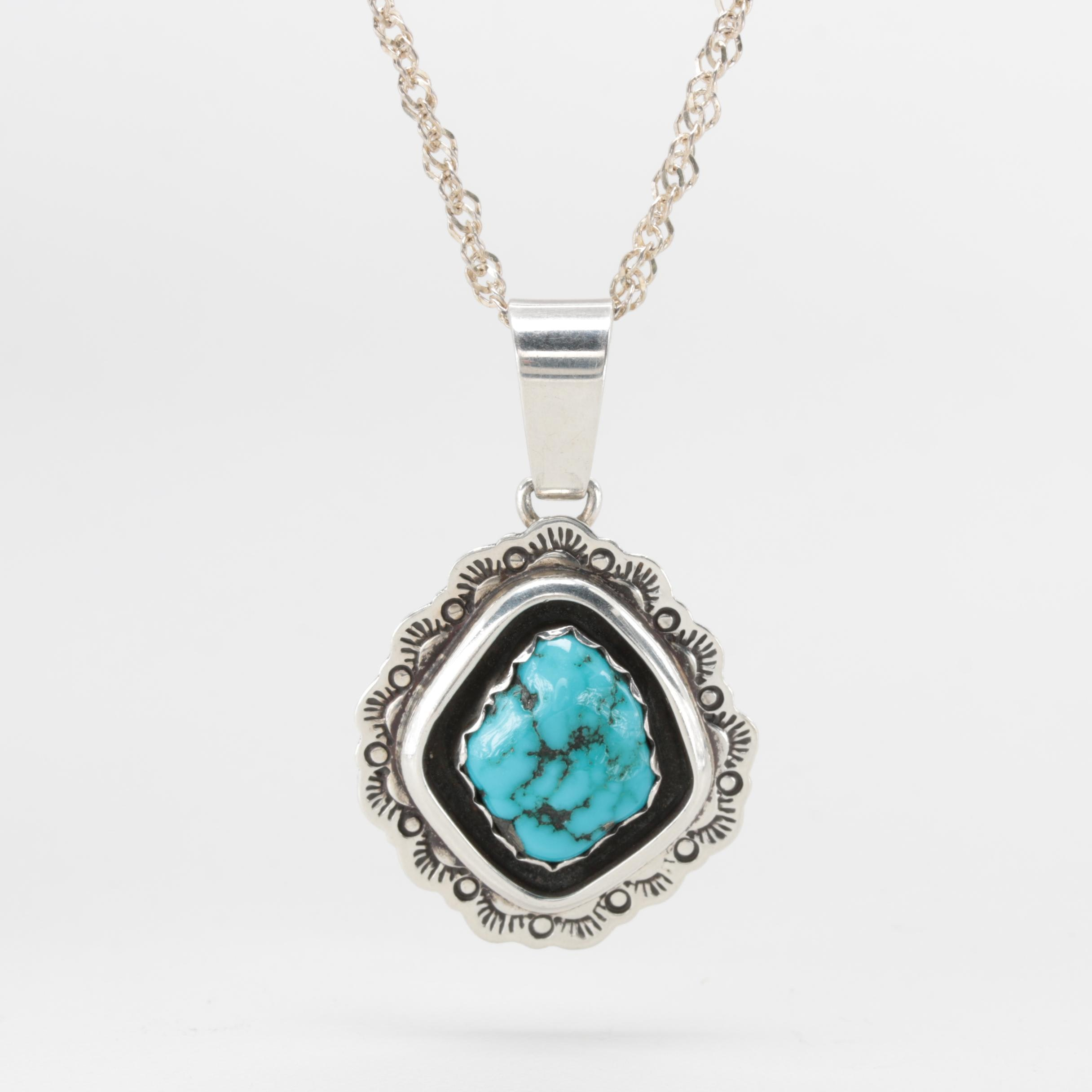 Gil Platero Navajo Diné Sterling Silver Turquoise Pendant Necklace