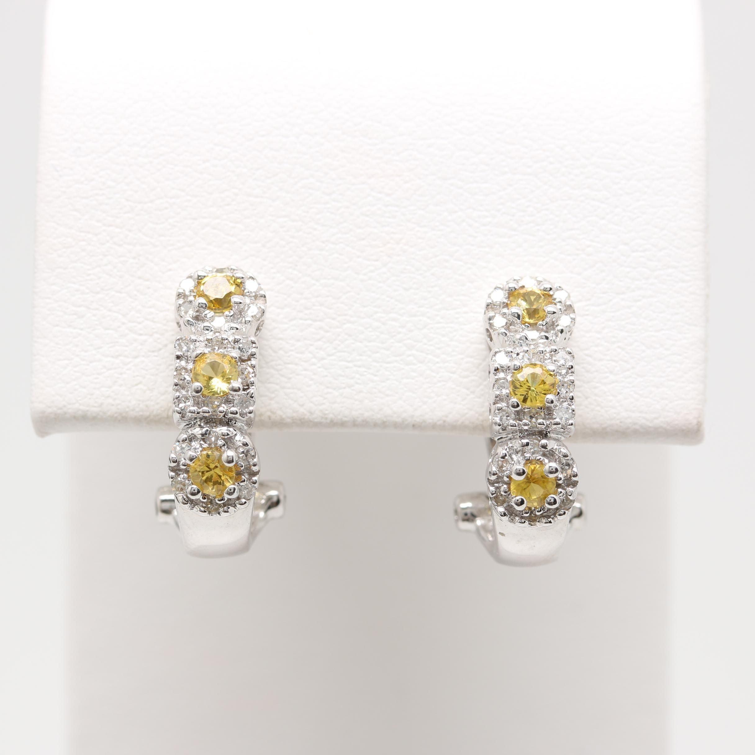 14K White Gold Yellow Sapphire and Diamond J-Hoop Earring