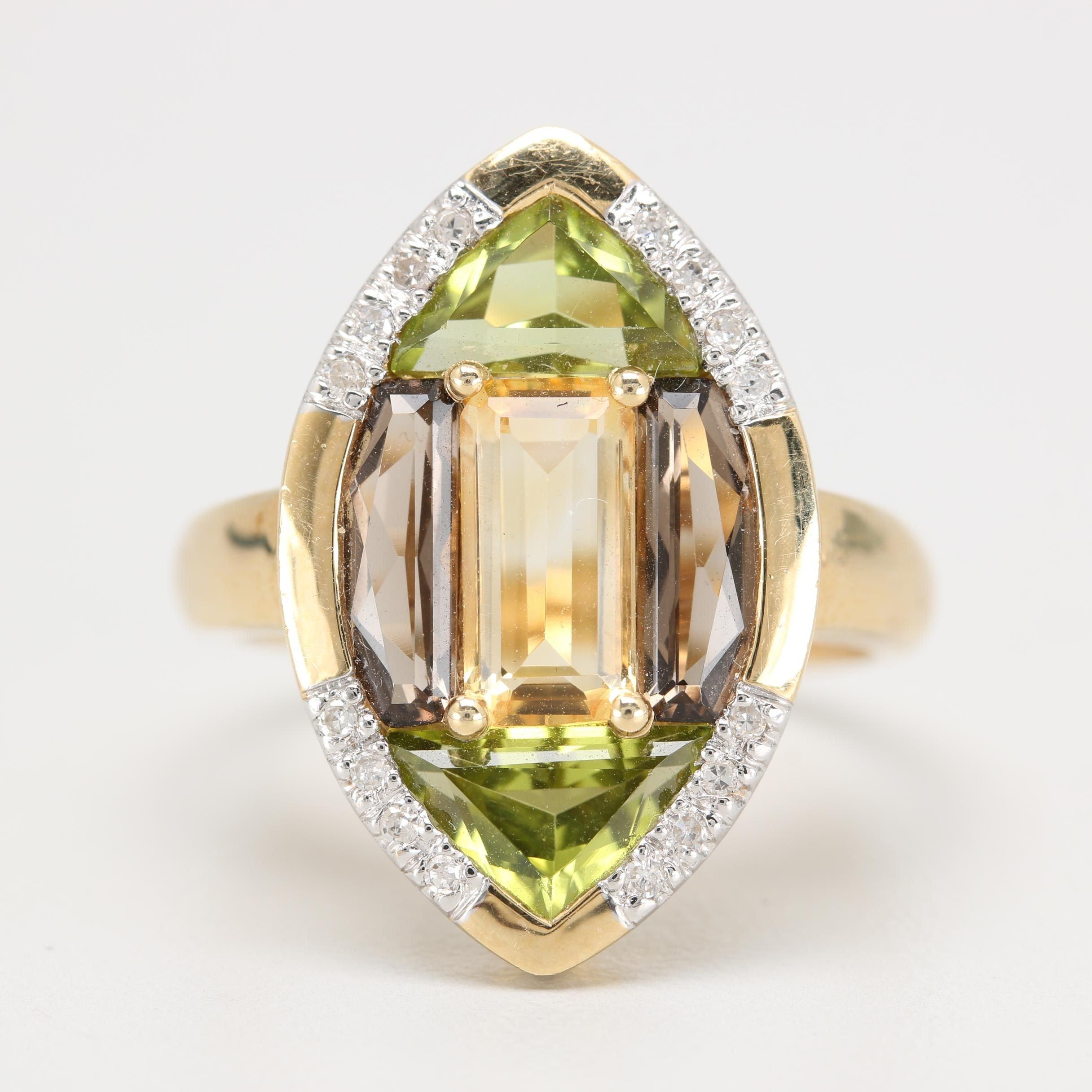 14K Yellow Gold Citrine, Smoky Quartz, Peridot, and Diamond Ring