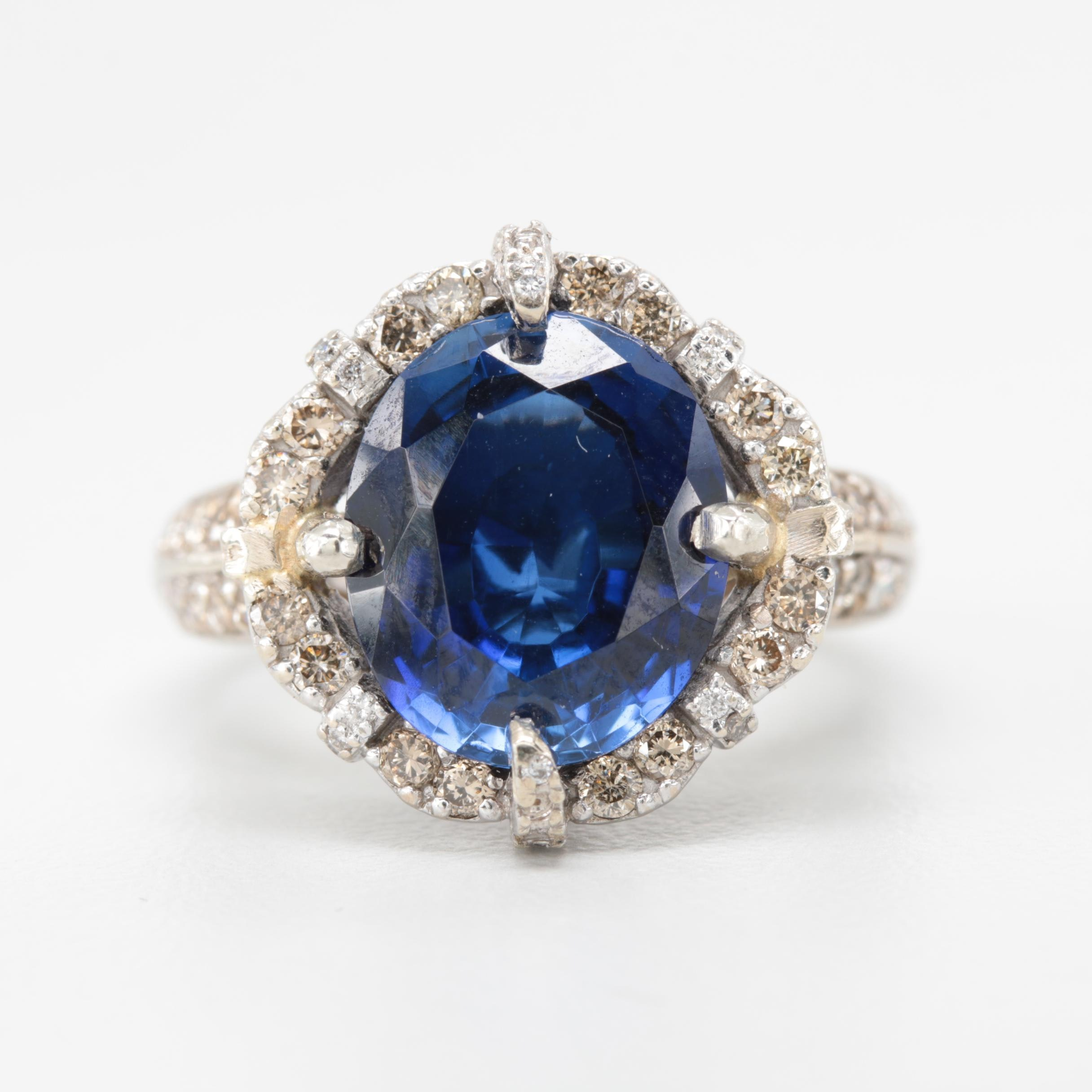 LeVian Semi-Mount 14K White Gold Synthetic Sapphire and Diamond Ring