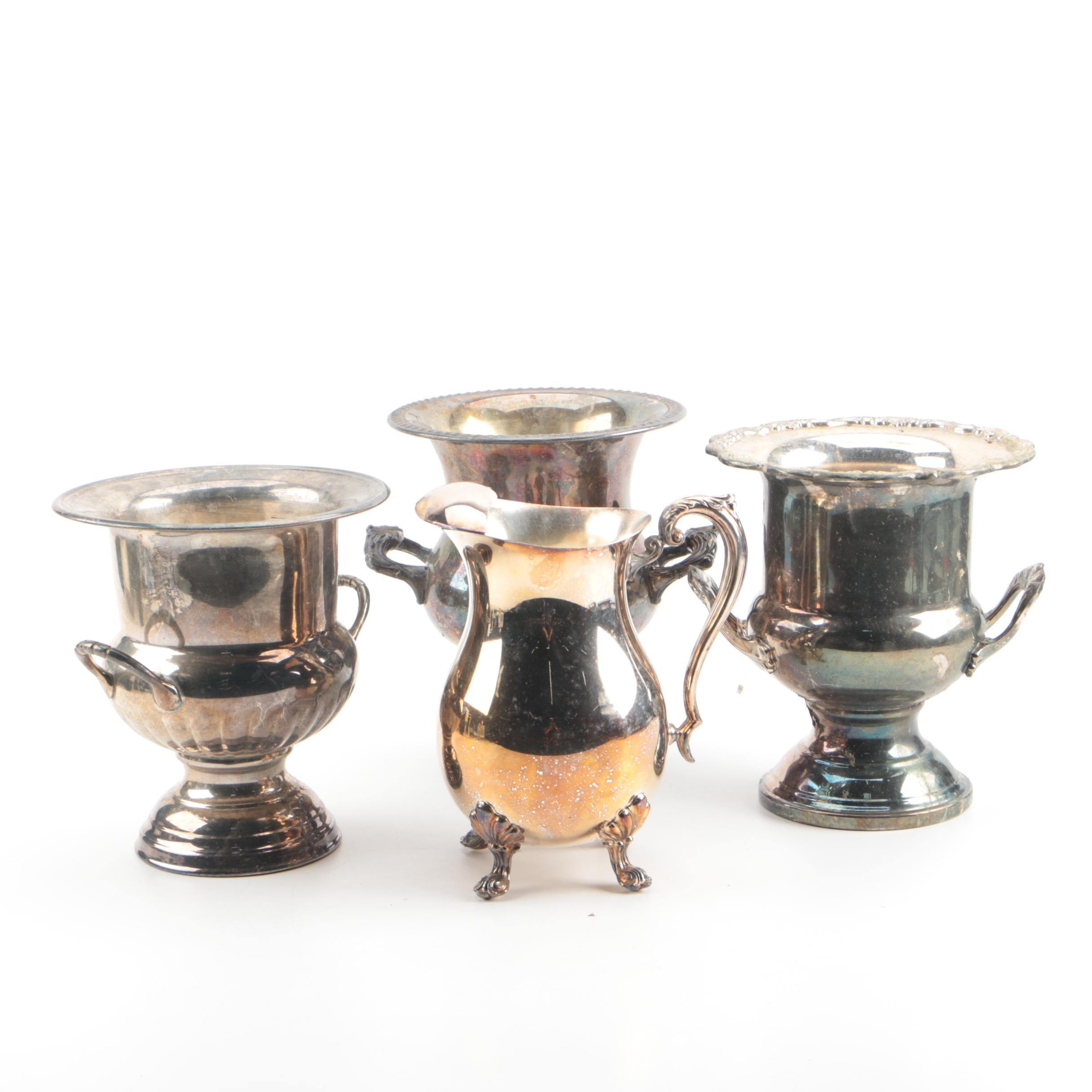 Silver Plate Ice Buckets and F. B. Rogers Pitcher