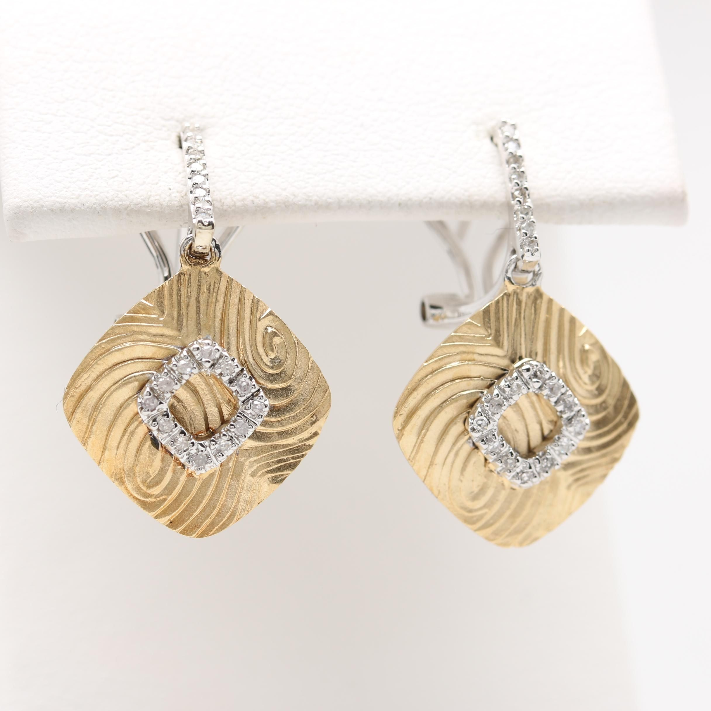 14K Yellow Gold Diamond Dangle Earrings with White Gold Accents