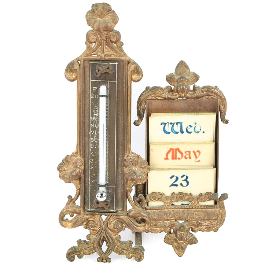 Antique Baroque Style Desk Calendar ... - Antique Baroque Style Desk Calendar : EBTH