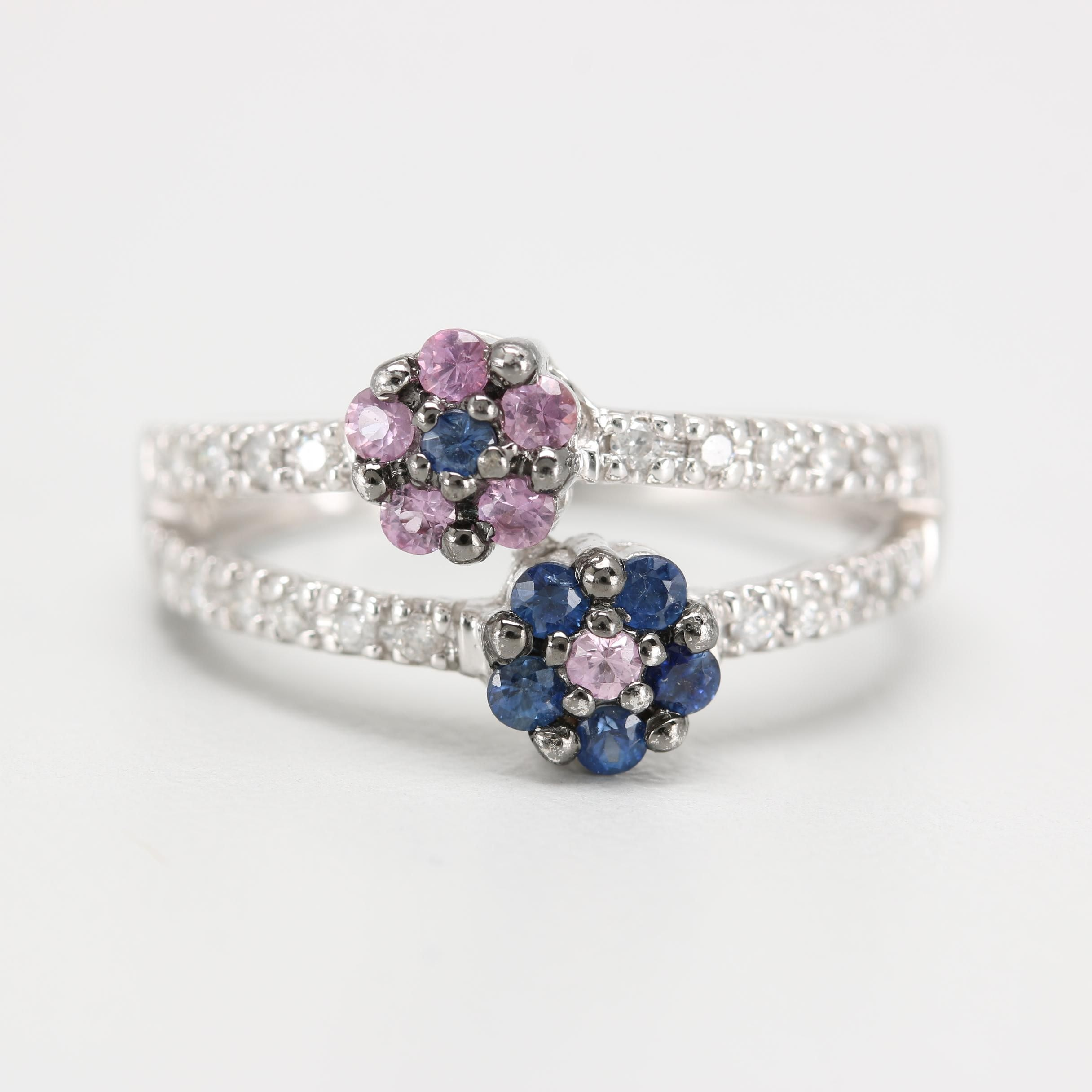 14K White Gold Blue and Pink Sapphire and Diamond Ring