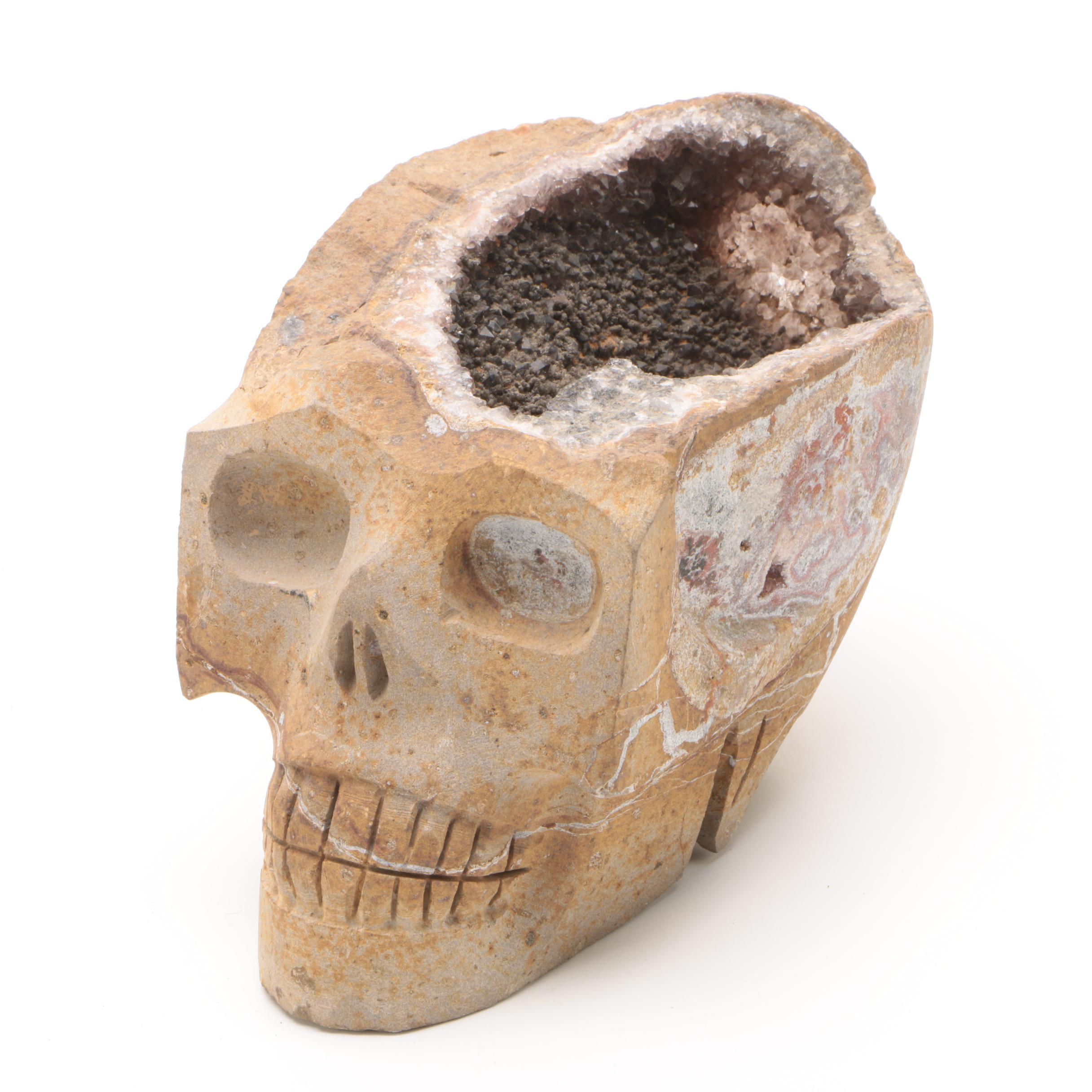 Carved Geode Skul