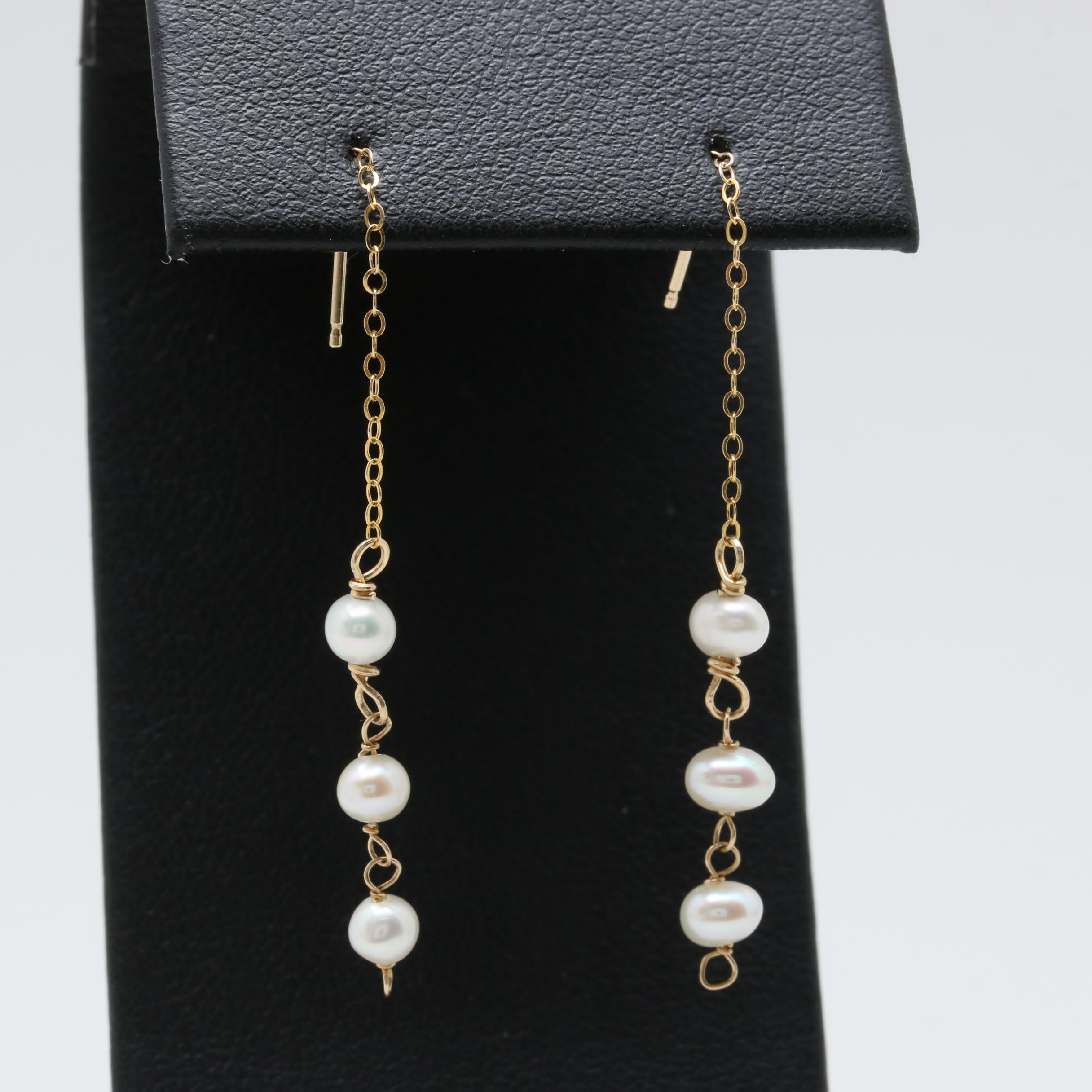 14K Yellow Gold Cultured Pearl Threader Drop Earrings