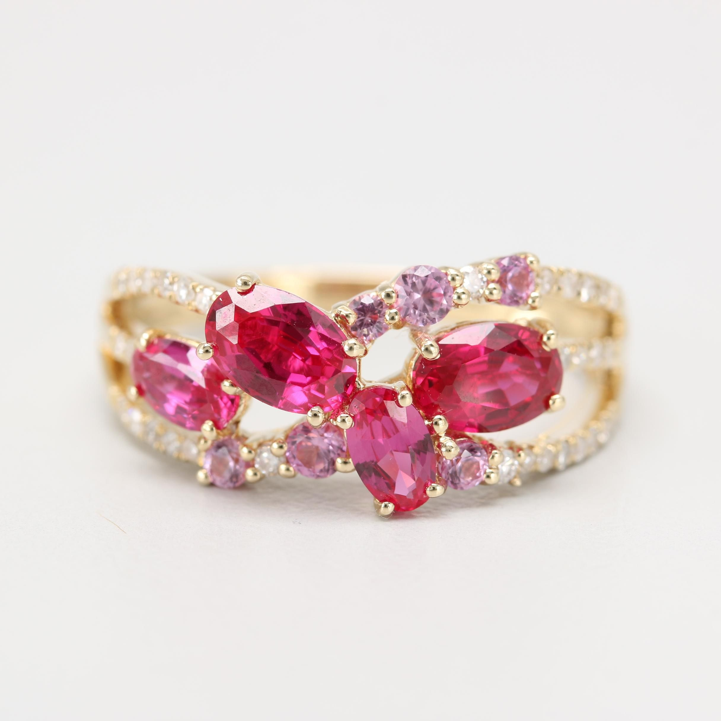 14K Yellow Gold Synthetic Ruby, Synthetic Pink Sapphire and Diamond Ring