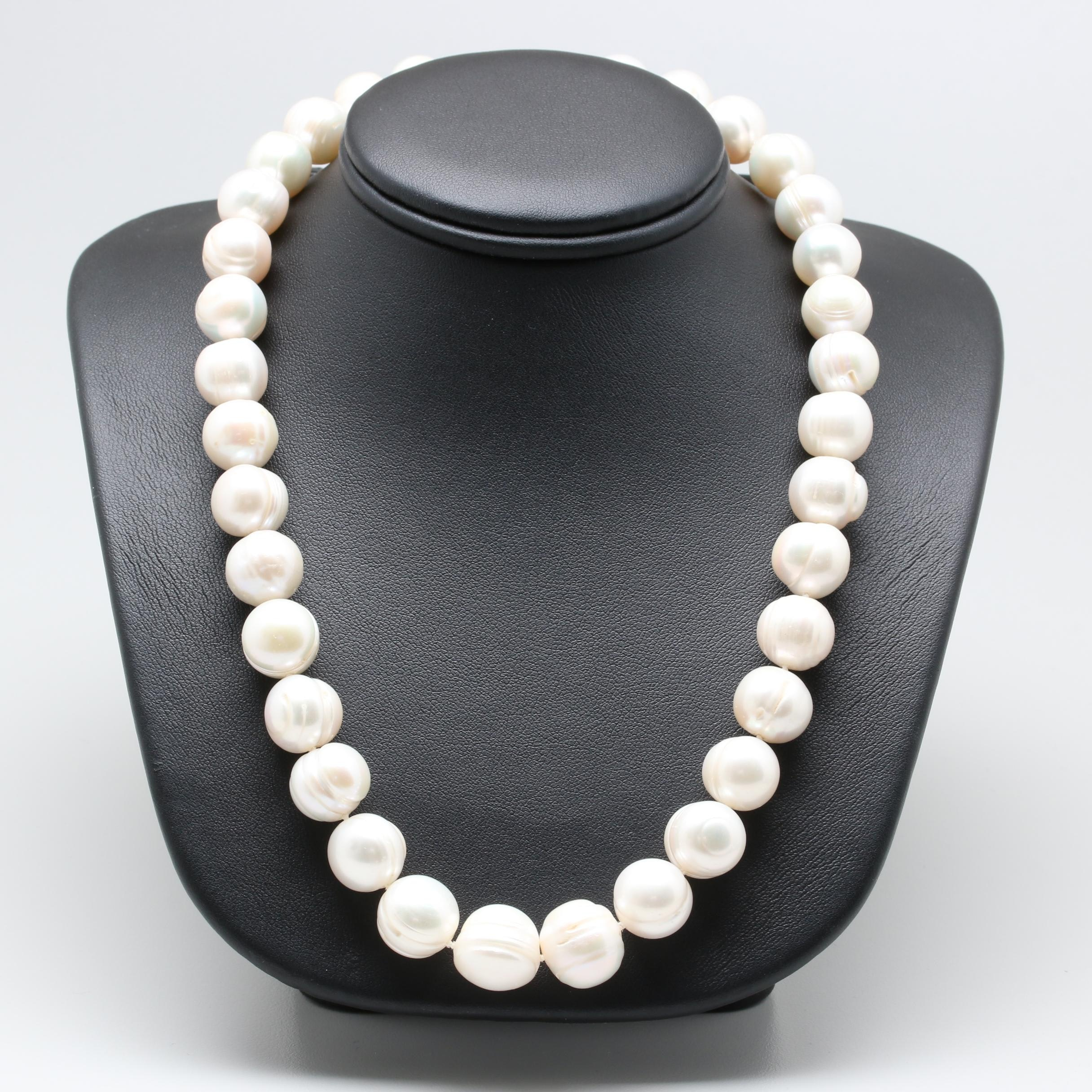 14K Yellow Gold Hand-Knotted Cultured Pearl Necklace