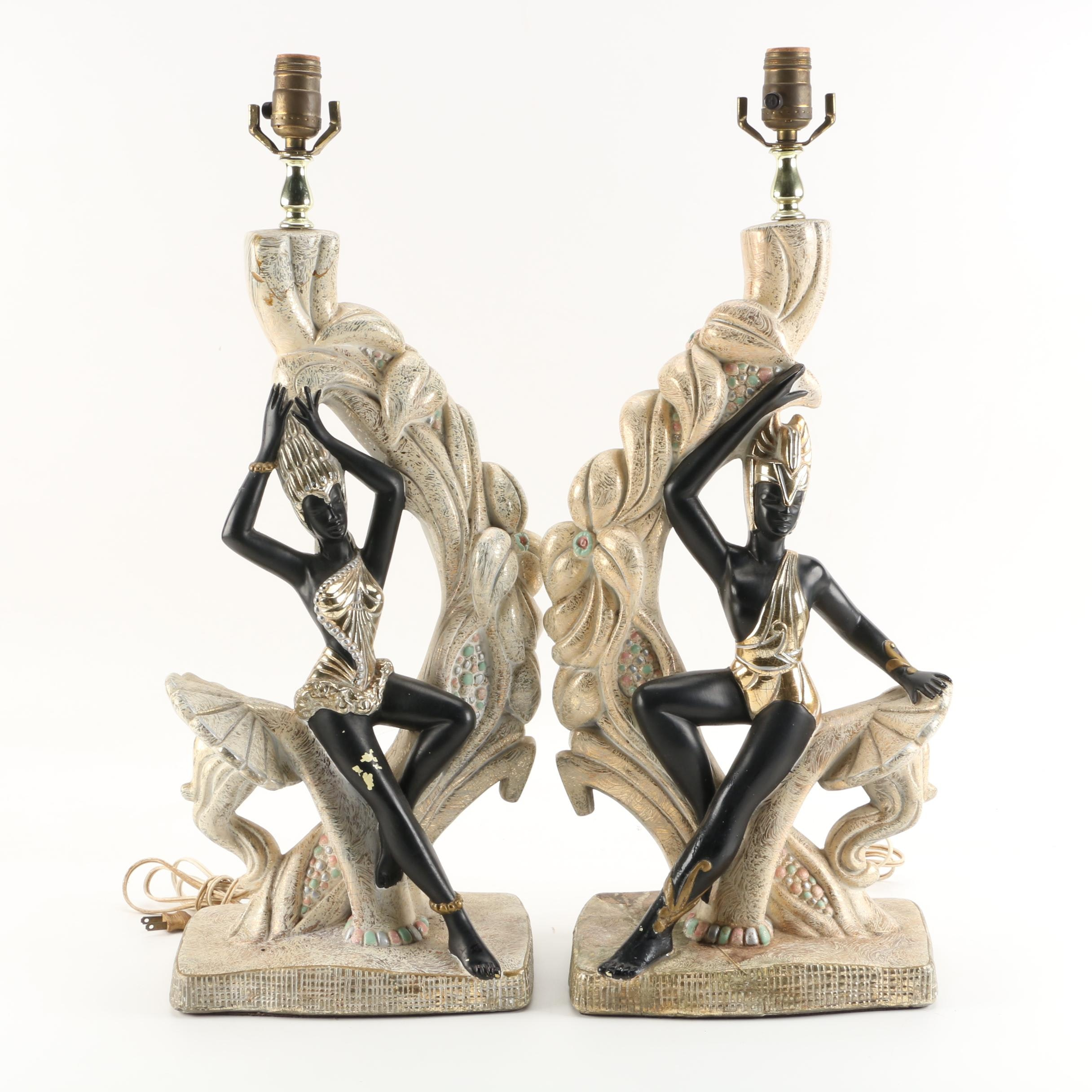 Mid-Century Modern Continental Art Chalkware Figural Lamps