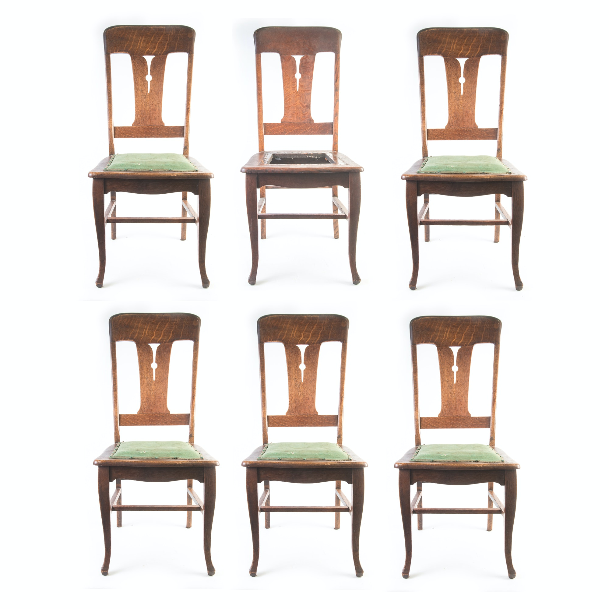 American Oak Transitional Arts & Crafts Style Dining Chairs circa 1910