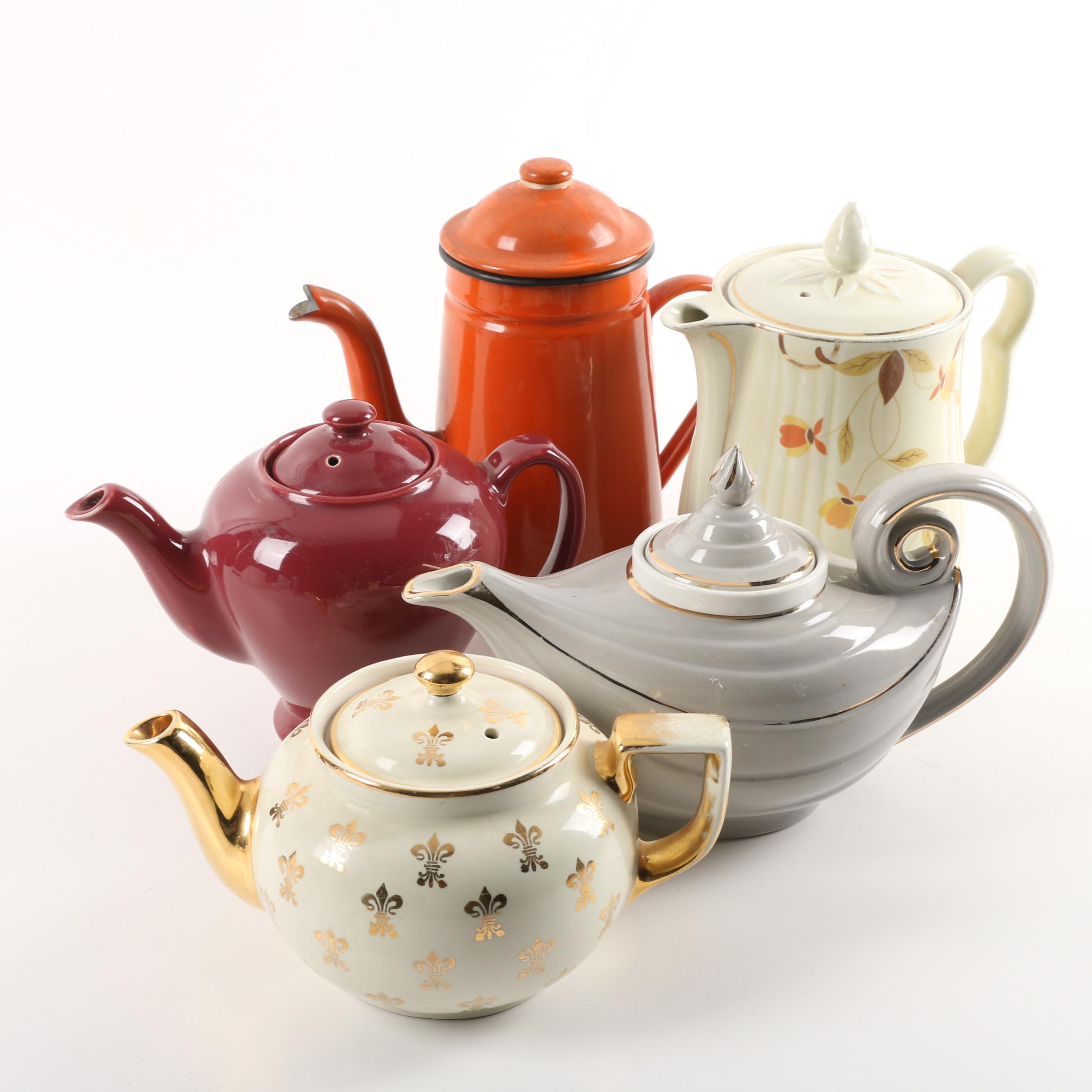 "Vintage Tea and Coffee Pots including Hall's ""Aladdin"" and ""Autumn Leaf"""