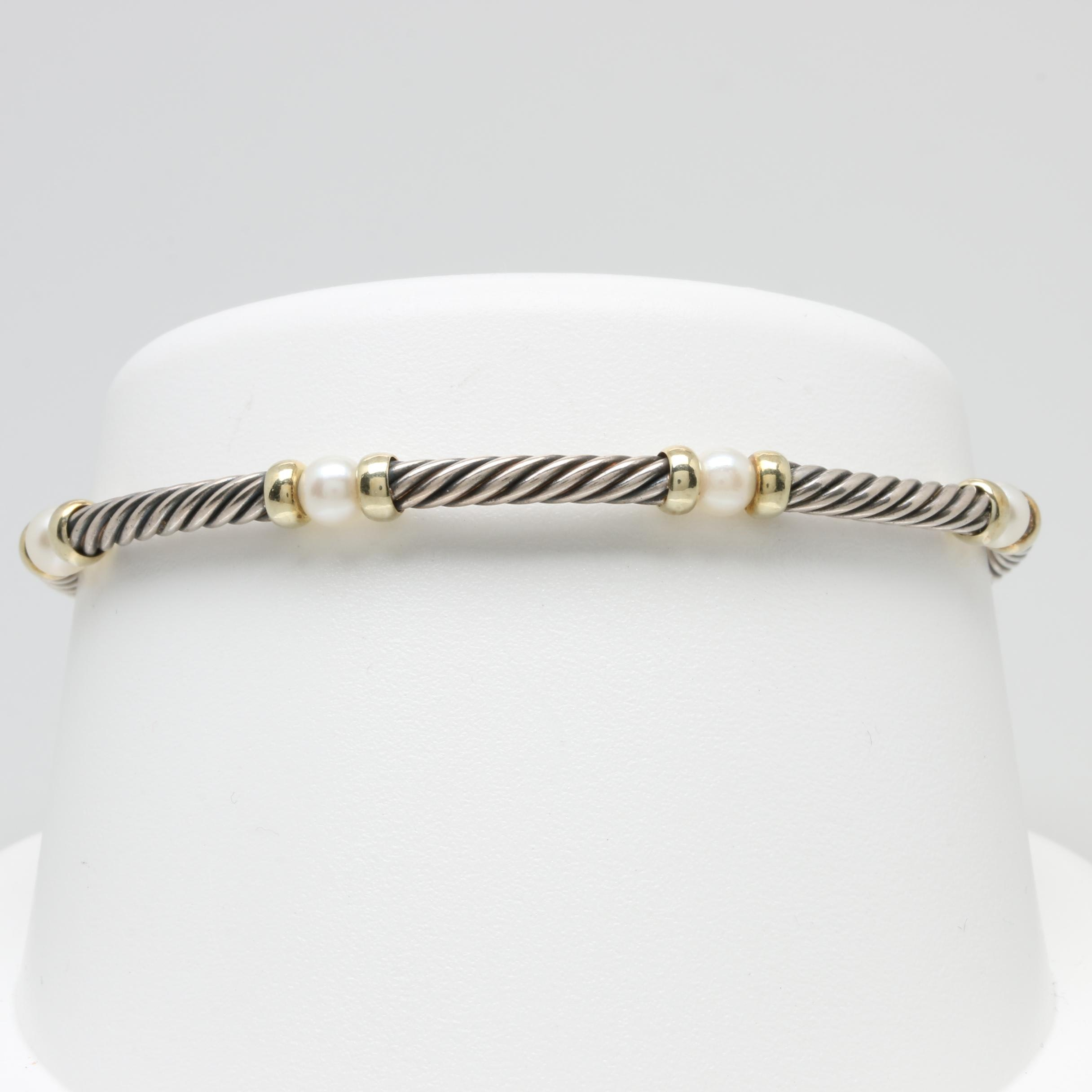 David Yurman Sterling Silver and 14K Yellow Gold Cultured Pearl Bracelet