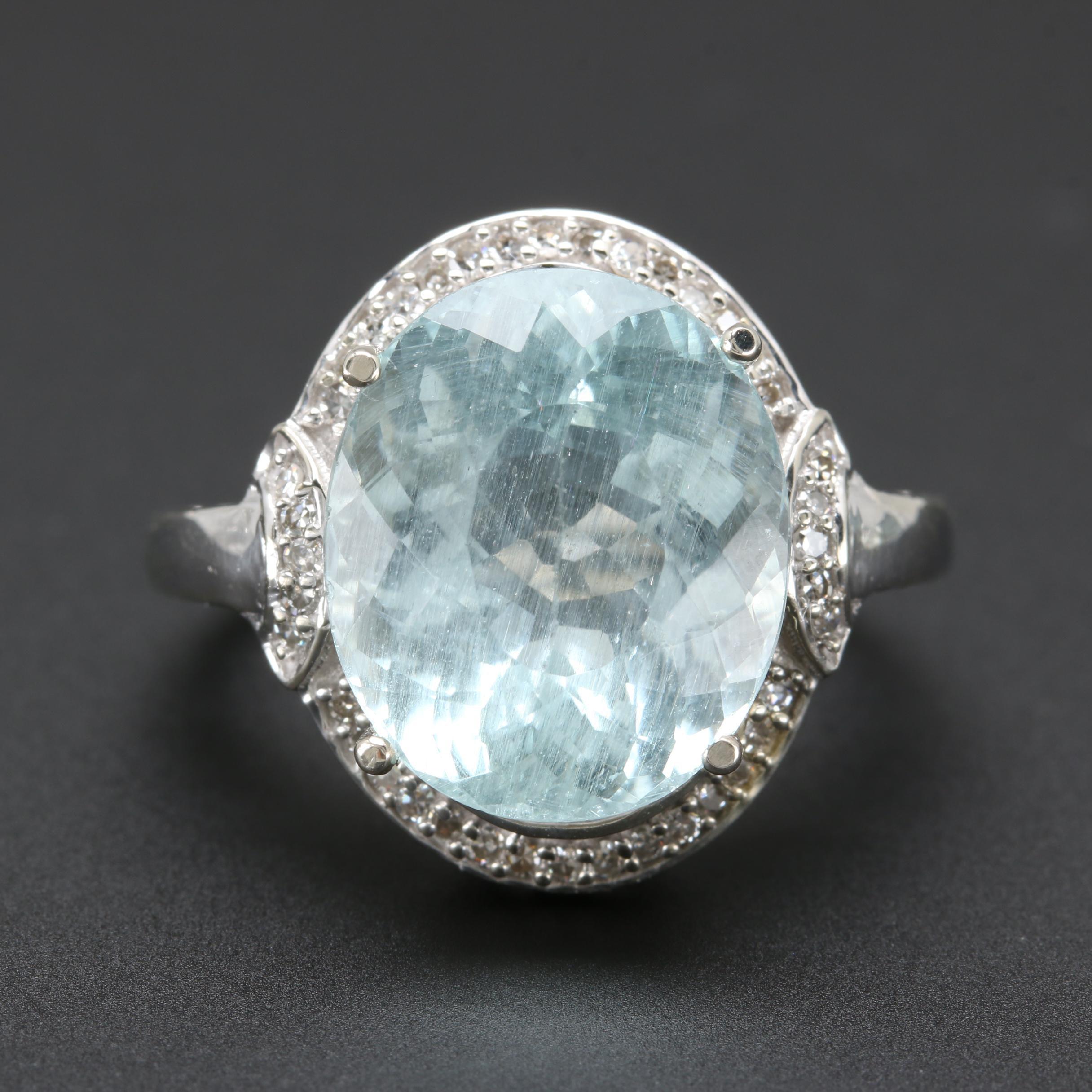 10K White Gold 8.23 CT Aquamarine and Diamond Ring