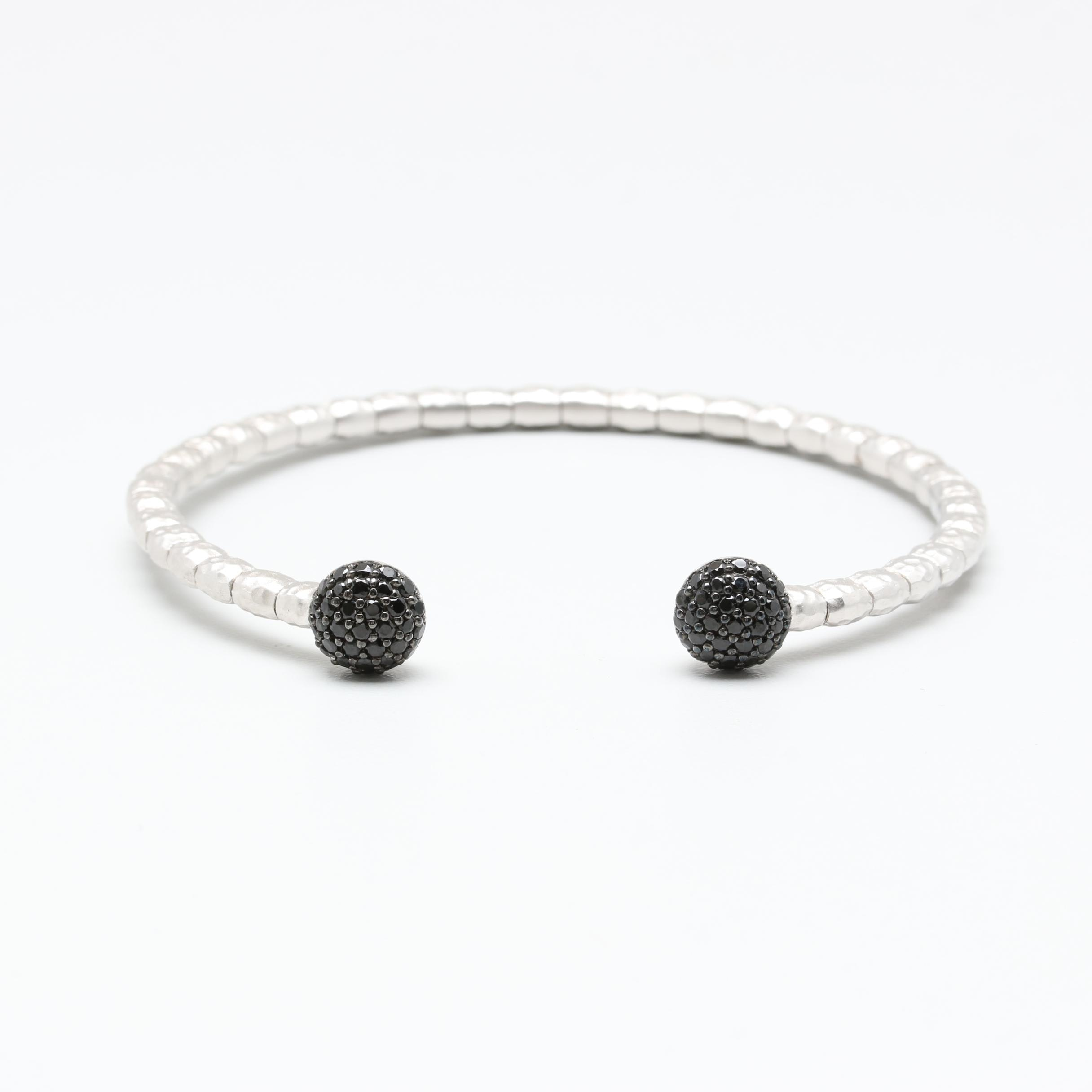 Sterling Silver and Stainless Steel Black Spinel Flex Fit Cuff