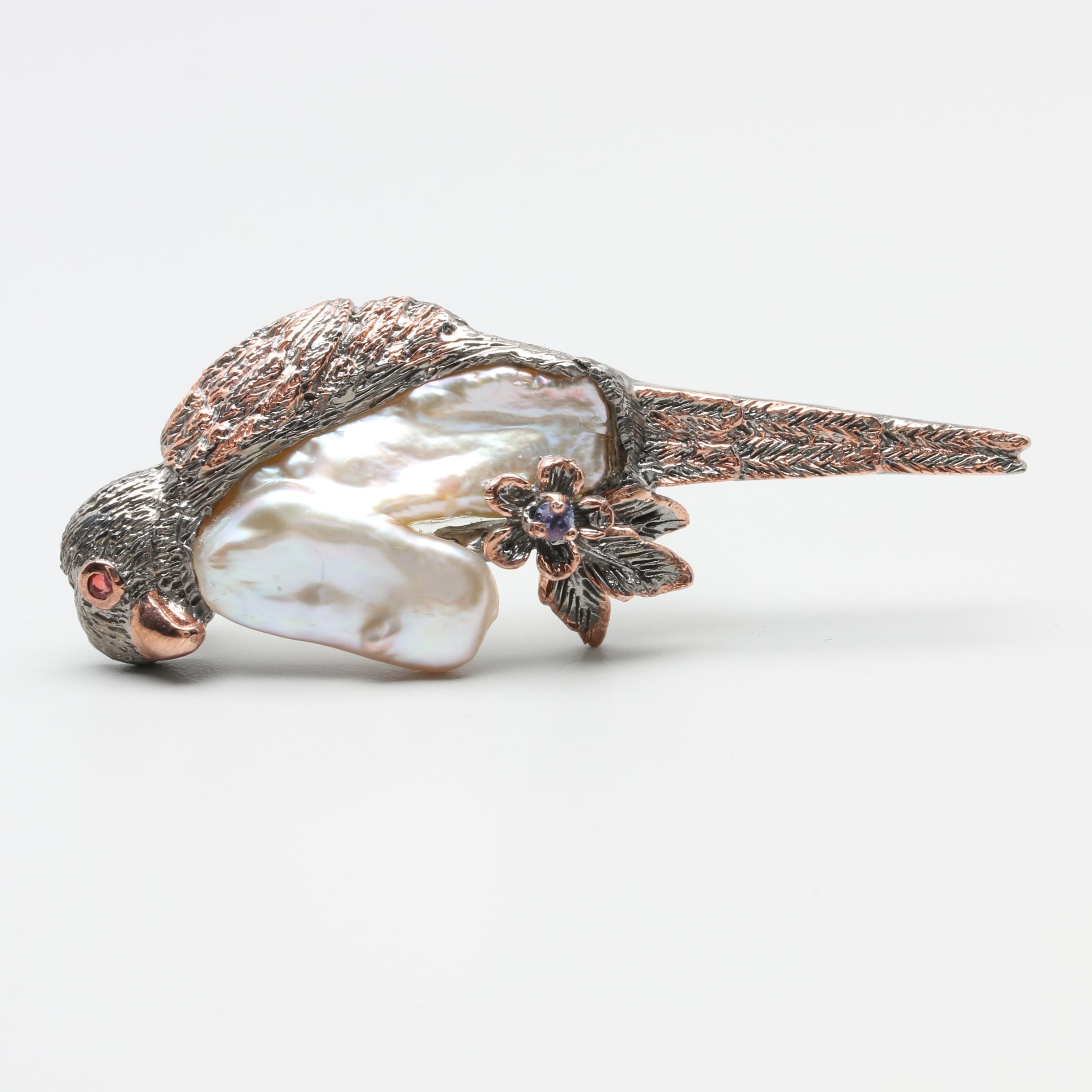 Sterling Silver Cultured Pearl, Ruby and Tanzanite Bird Brooch