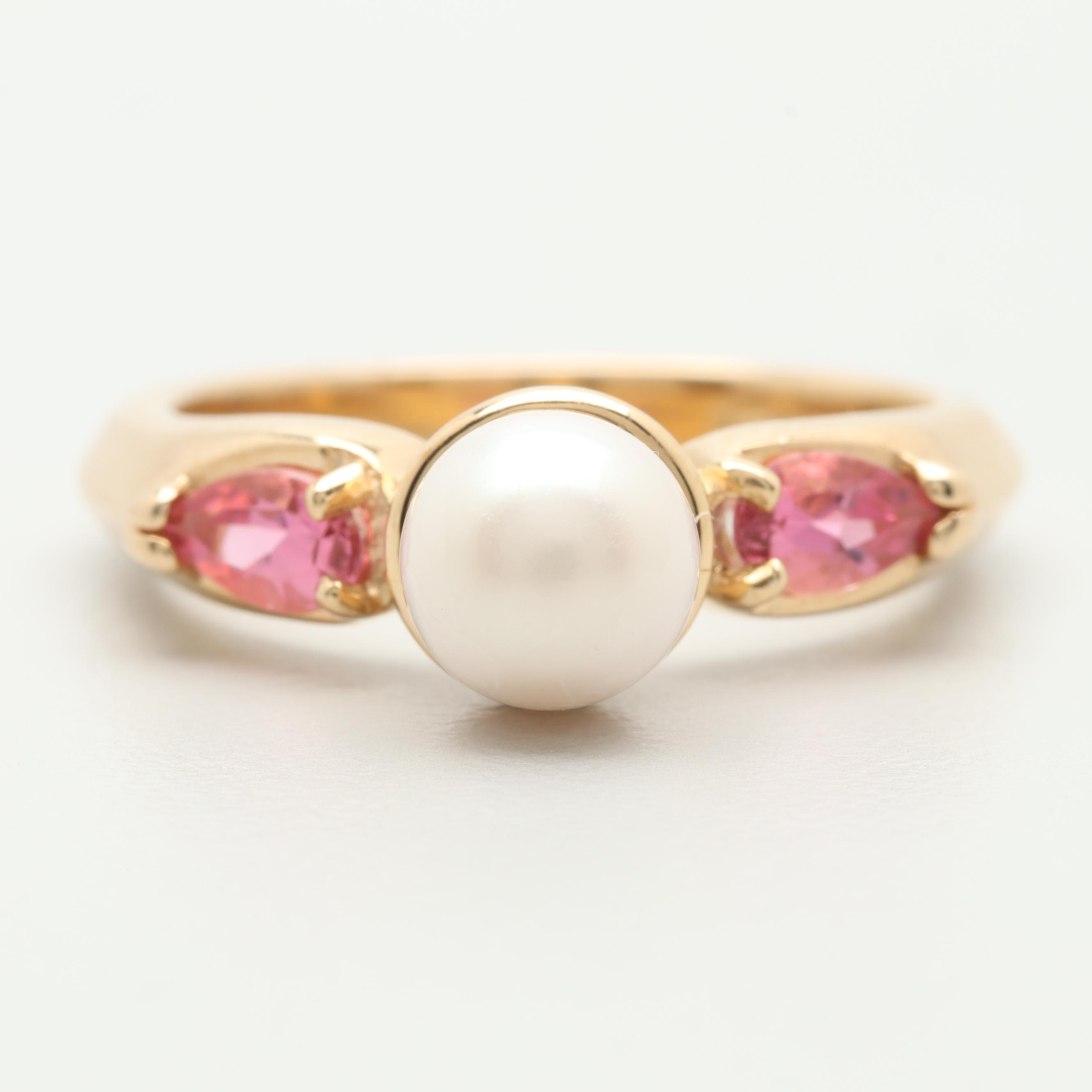 14K Yellow Gold Cultured Pearl and Pink Tourmaline Ring