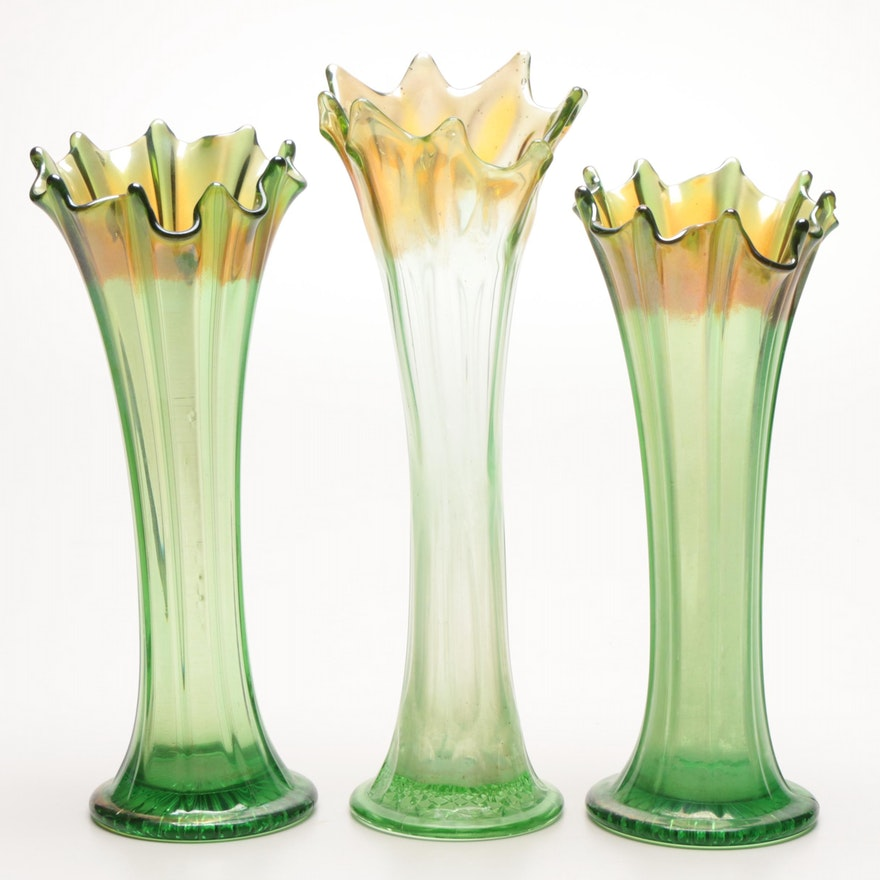 Carnival Glass Flute Swung Vases In Green Ebth