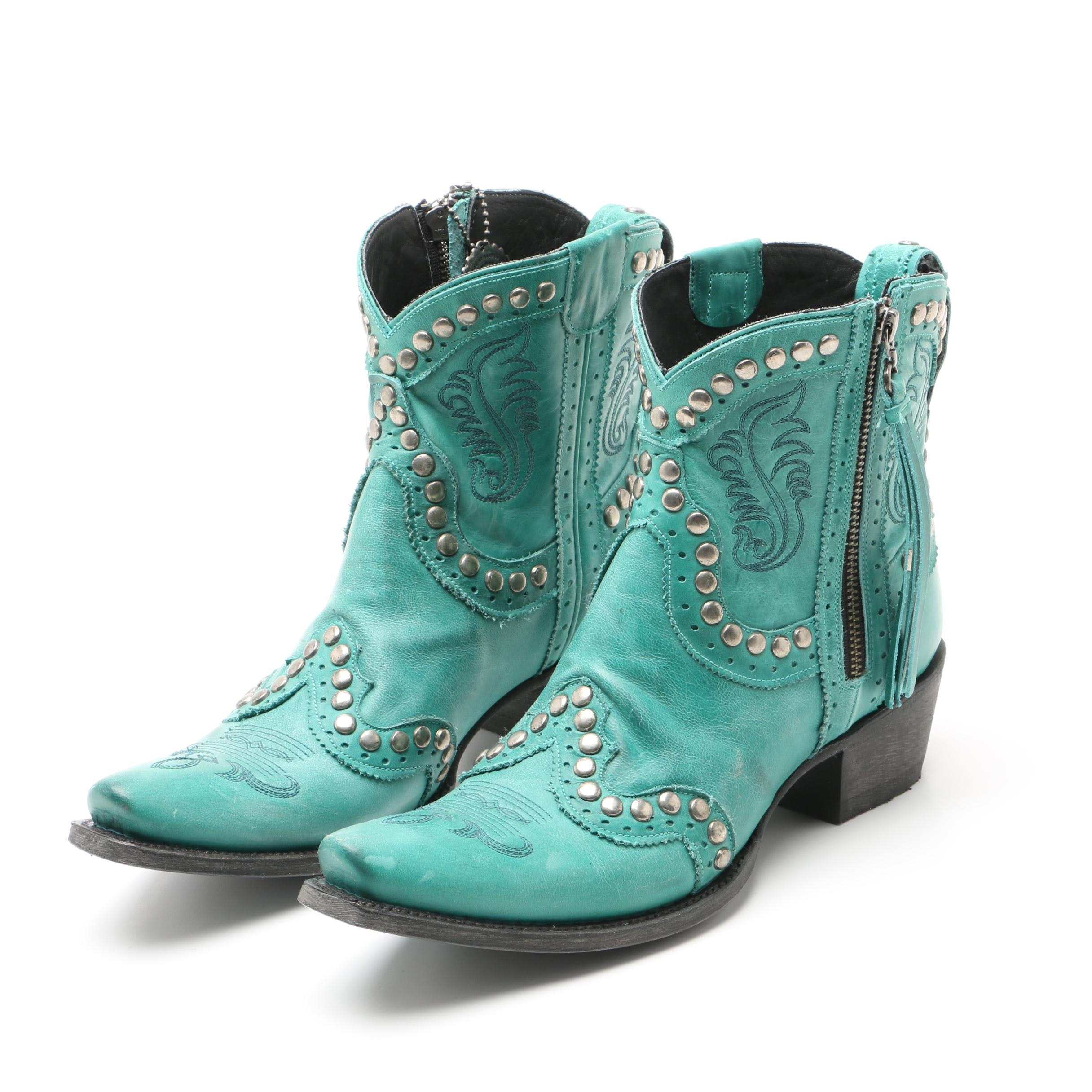Women's Double D Ranch Garcitas Embellished Half Pint Shorty Boots in Turquoise