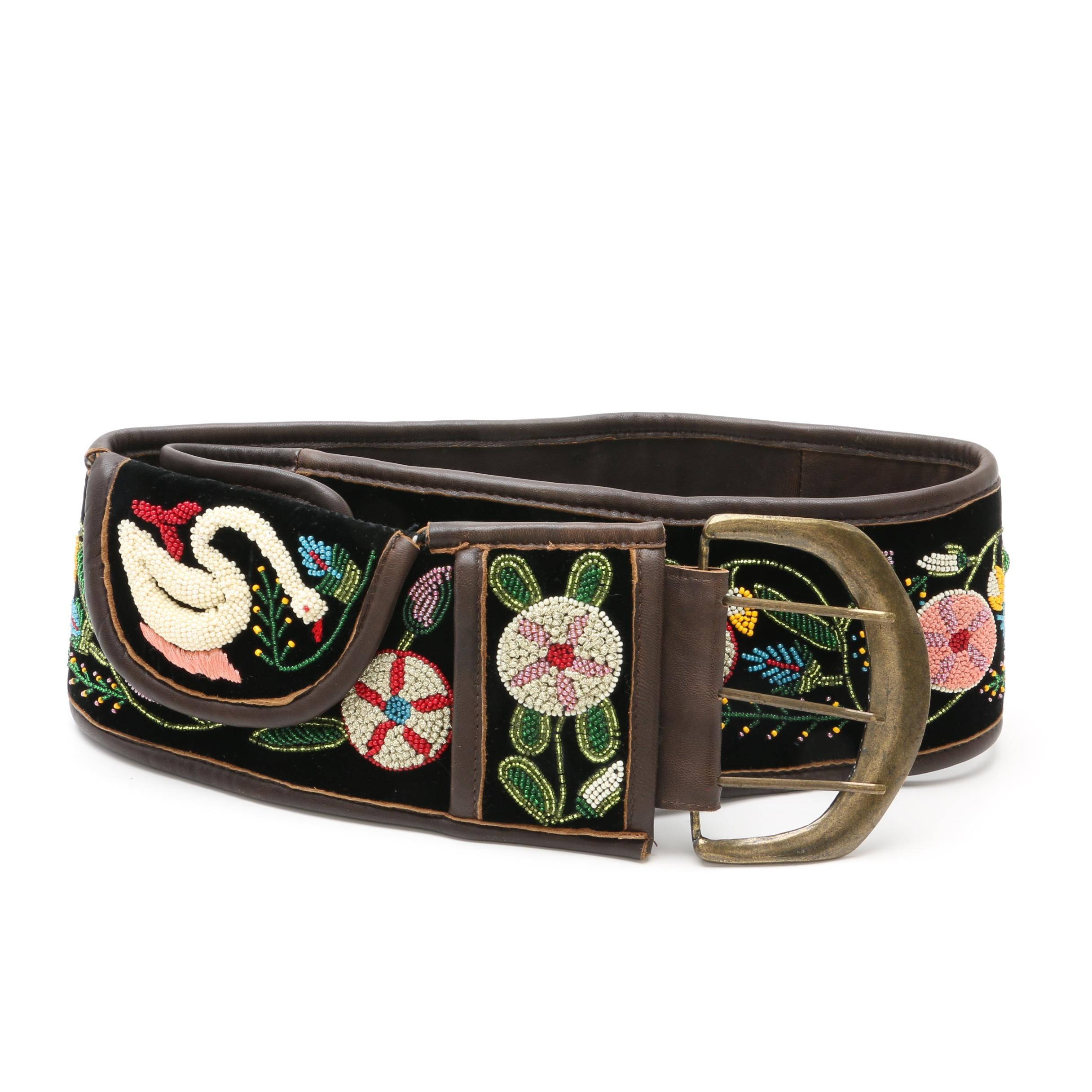 Double D Ranch of Yoakum, Texas Leather and Velvet Beaded Belt