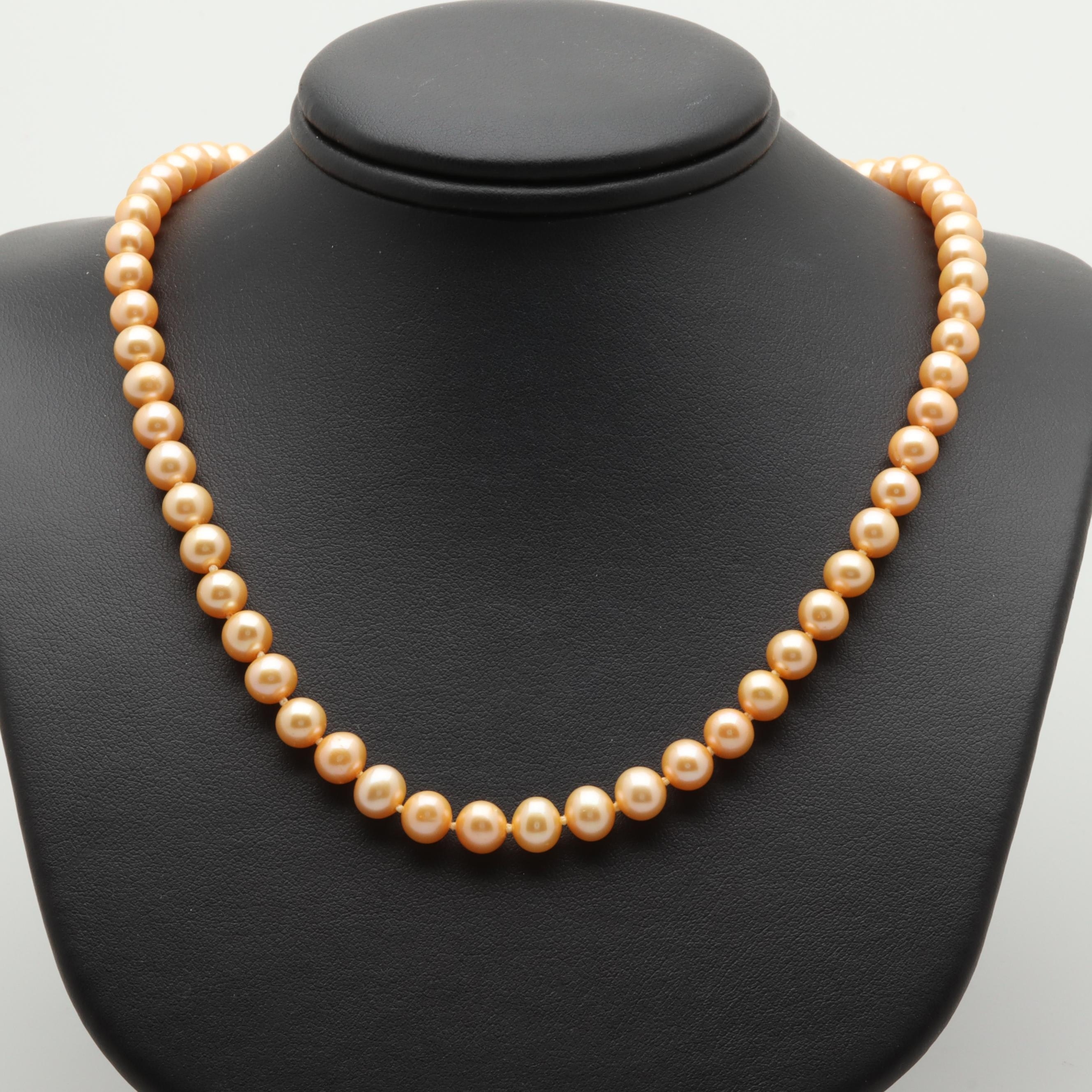 14K Yellow Gold Orange Cultured Pearl Beaded Necklace