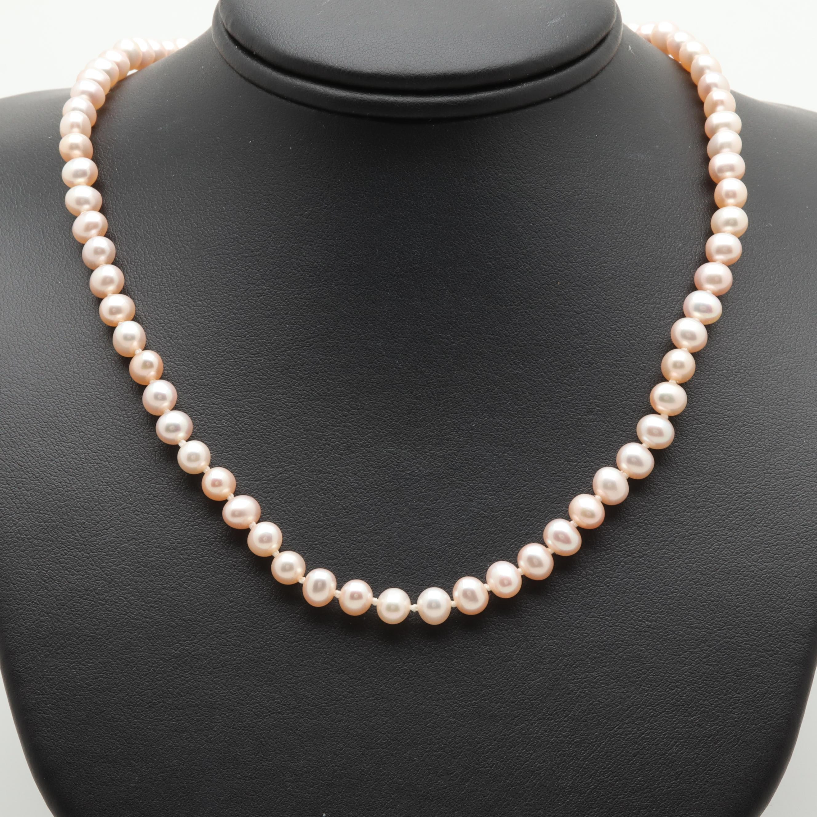 14K Yellow Gold Pink Cultured Pearl Beaded Necklace