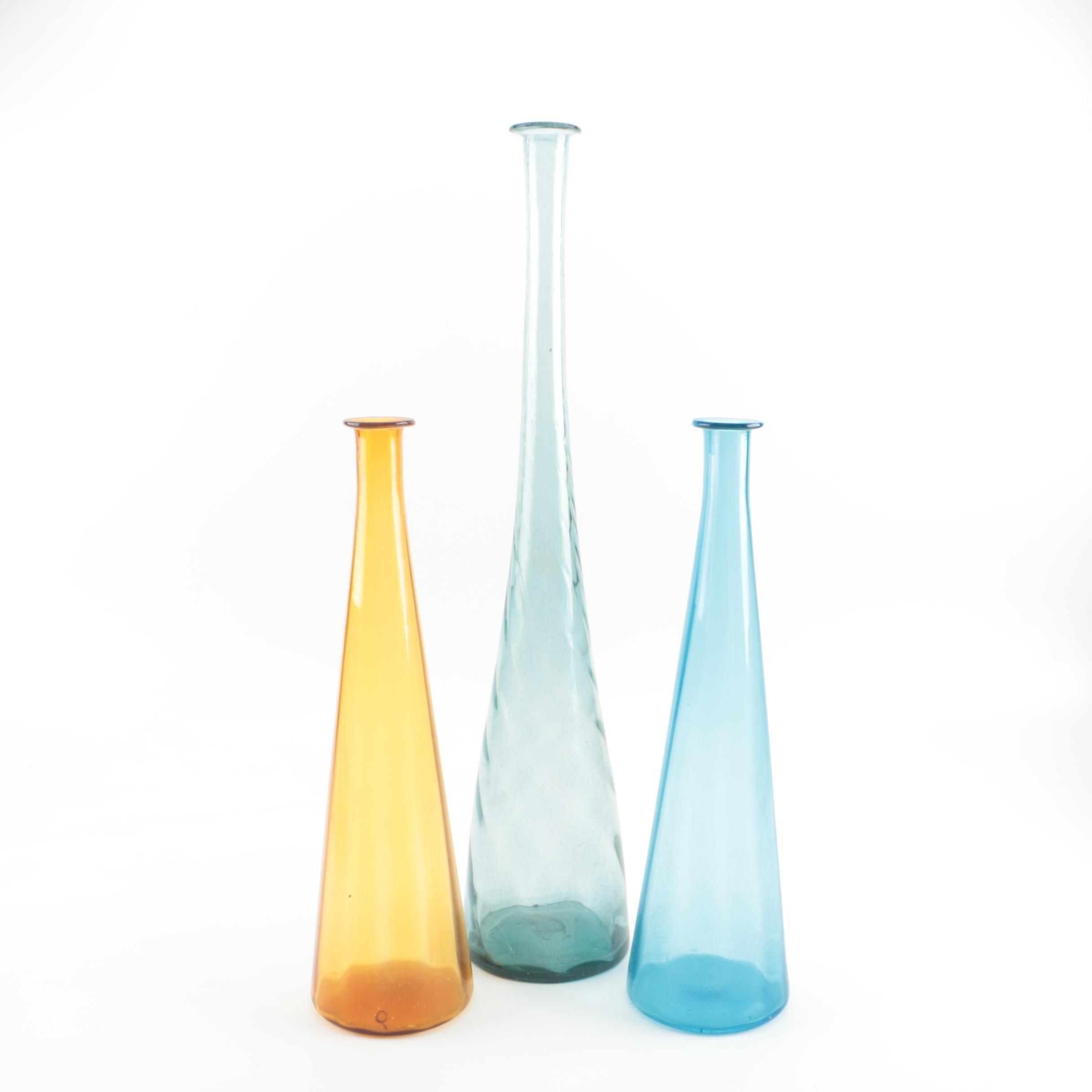Large Decorative Blown Glass Bottles