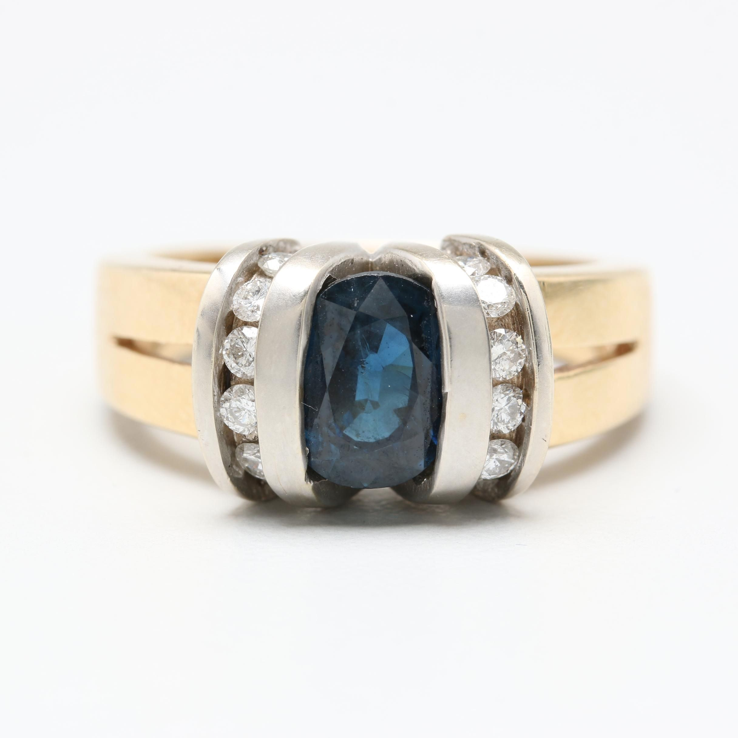 14K Yellow Gold 1.64 CT Blue Sapphire and Diamond Ring