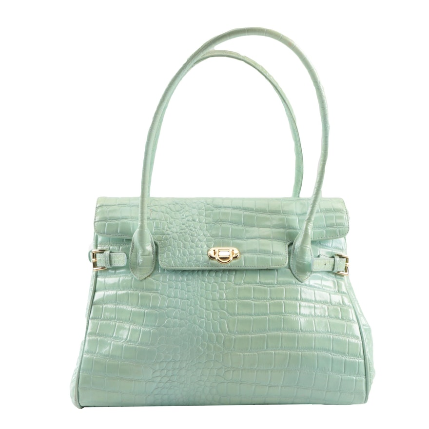 Muska Sea Foam Green Embossed Leather Shoulder Bag