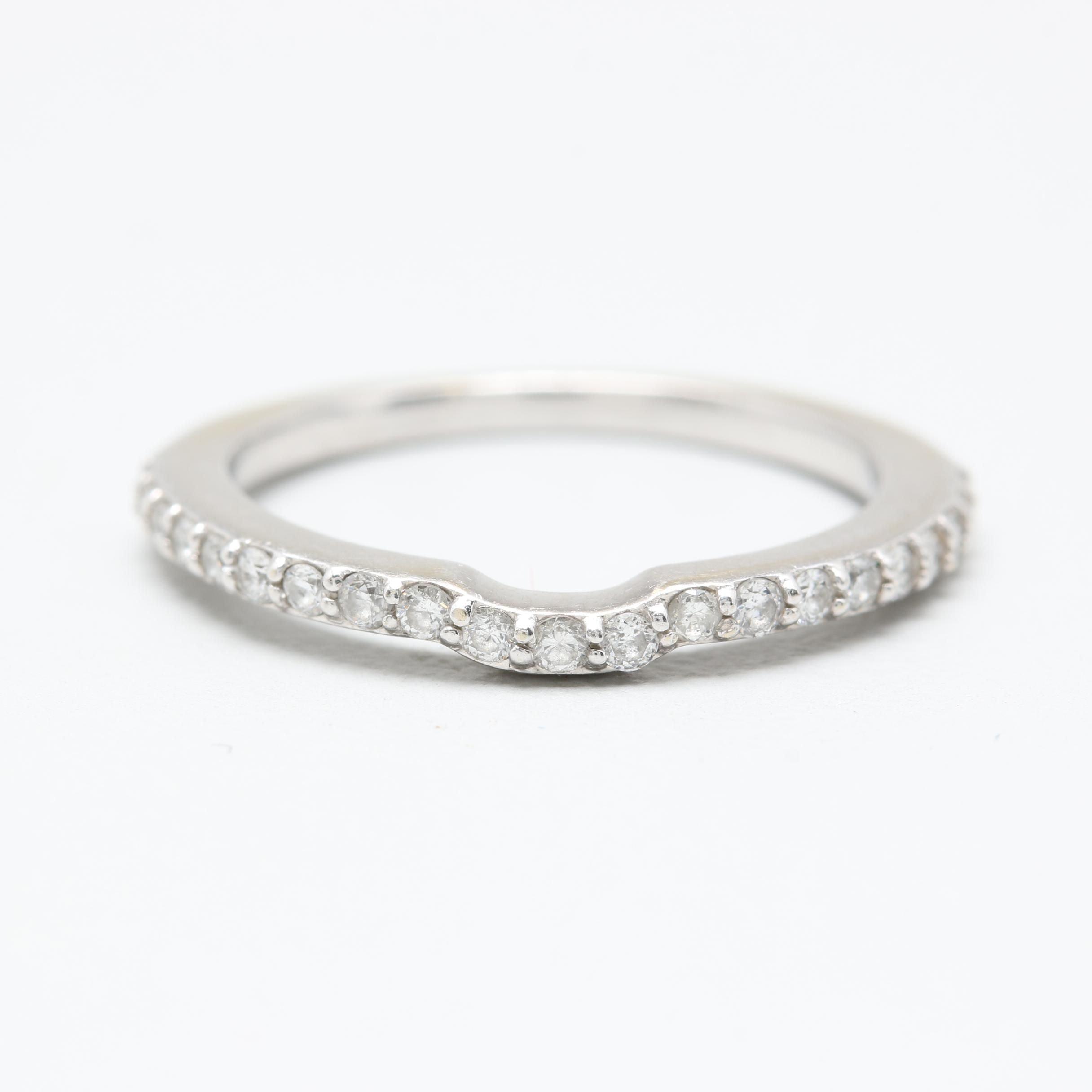14K White Gold Diamond Ring Guard