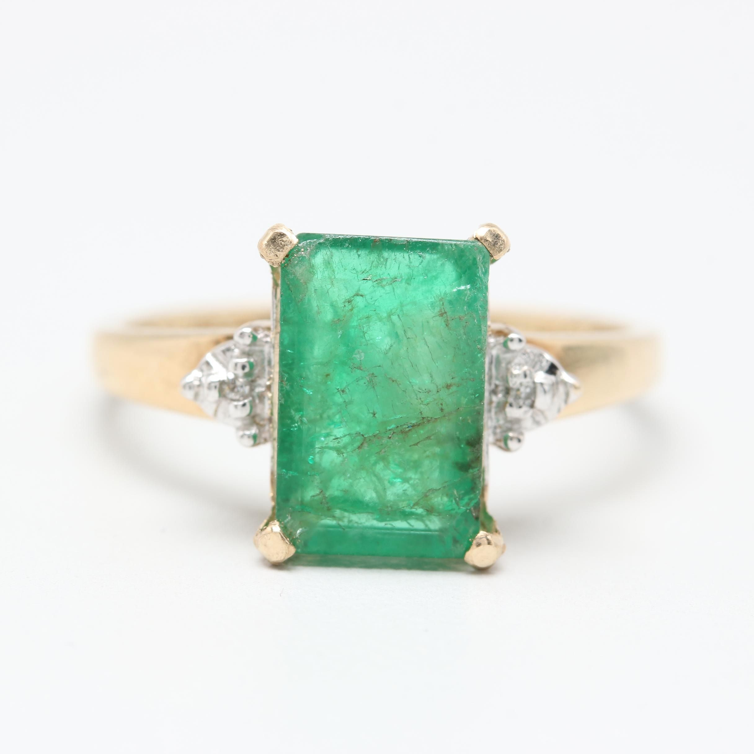 10K Yellow Gold 2.03 CT Emerald and Diamond Ring