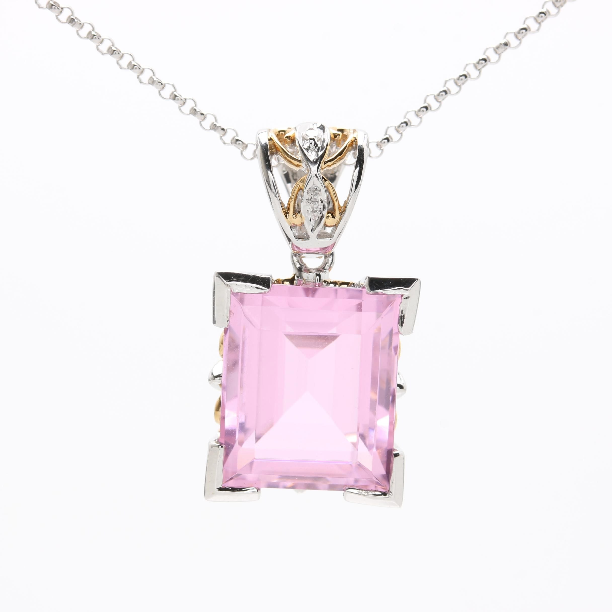 14K White Gold Pink Cubic Zirconia and Diamond Pendant Necklace