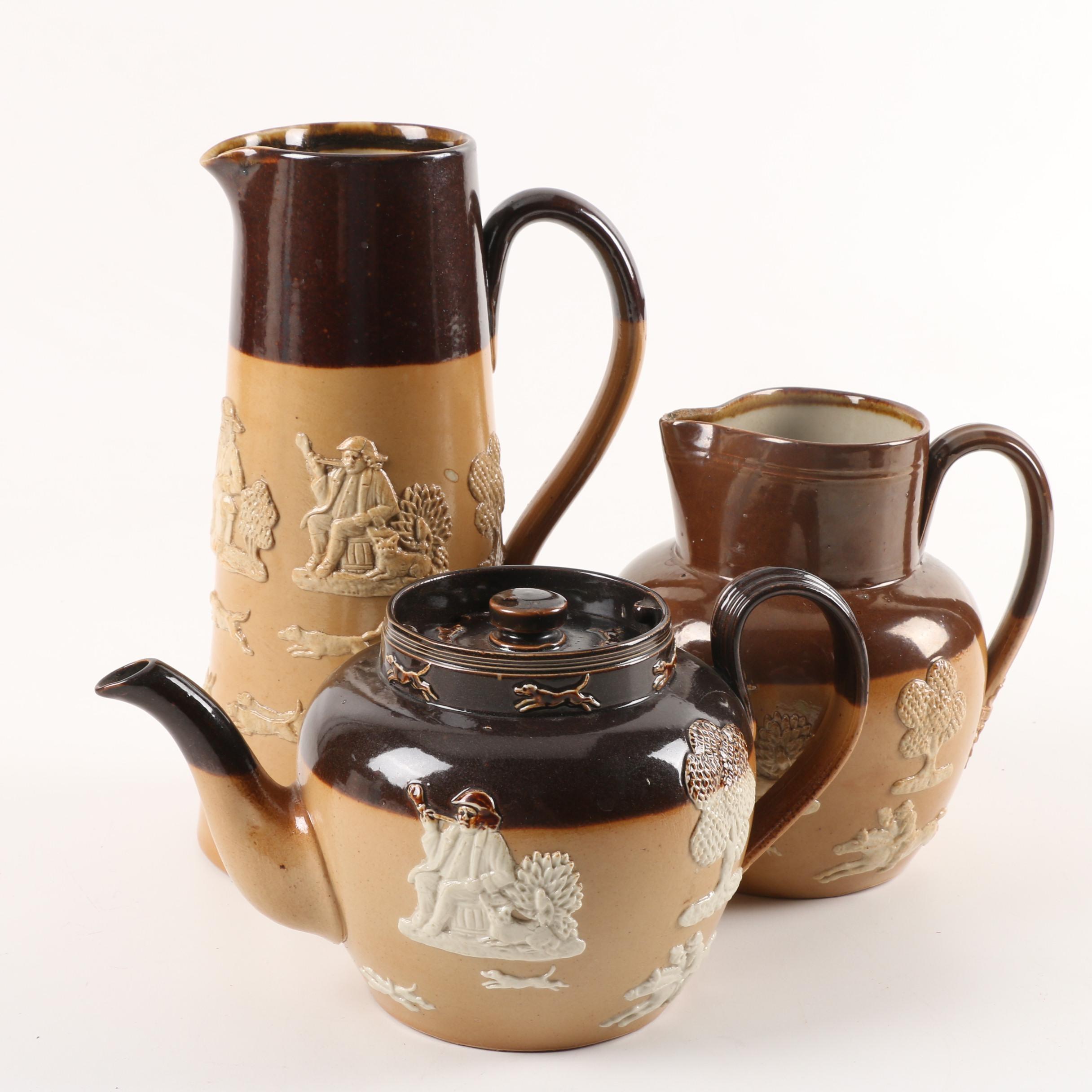 Royal Doulton Salt Glazed Stoneware Jugs and Teapot ca. 1902-22