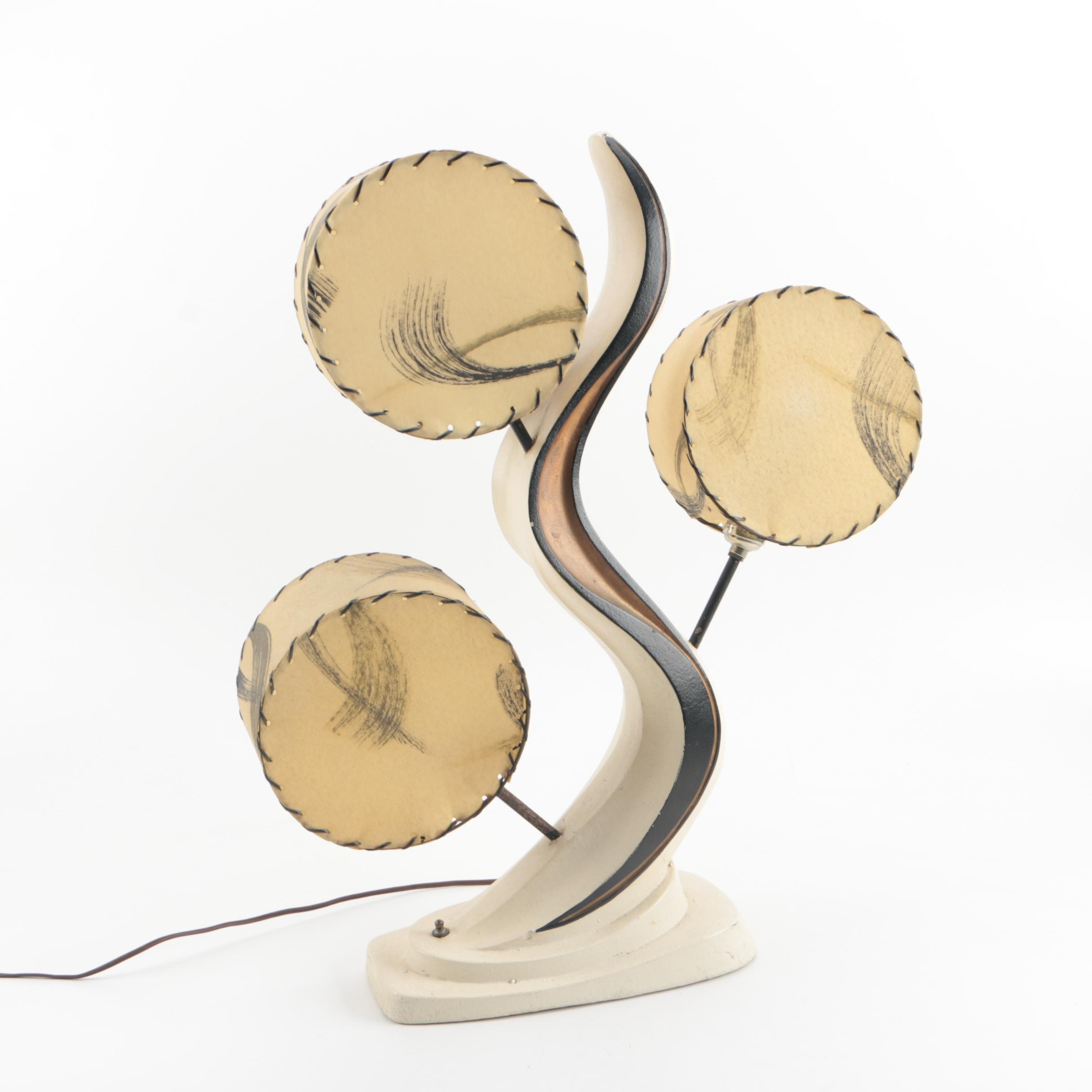 Mid Century Modern Plasto Chalkware Lamp with Rawhide Shades