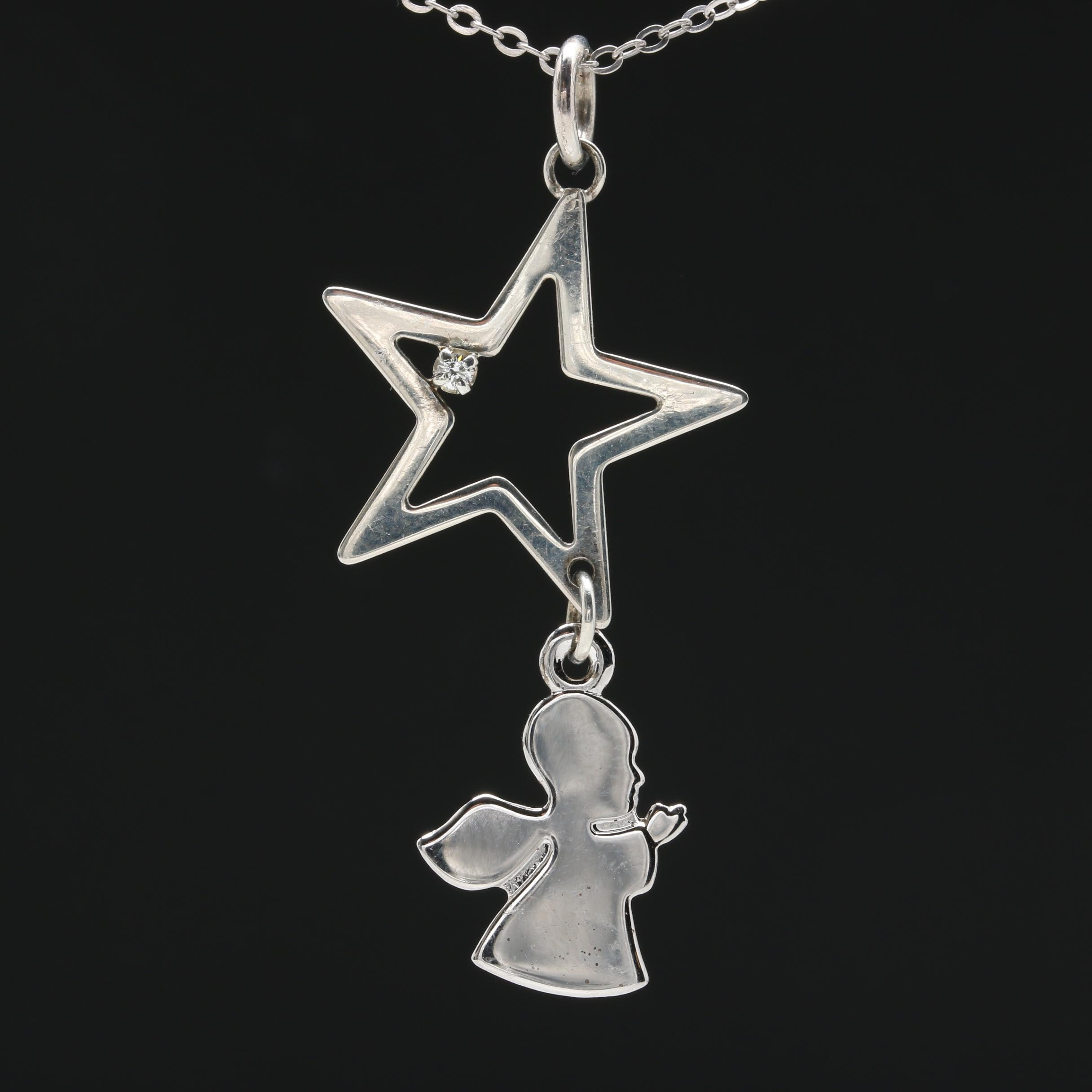 Sterling Silver Diamond Star and Angel Necklace