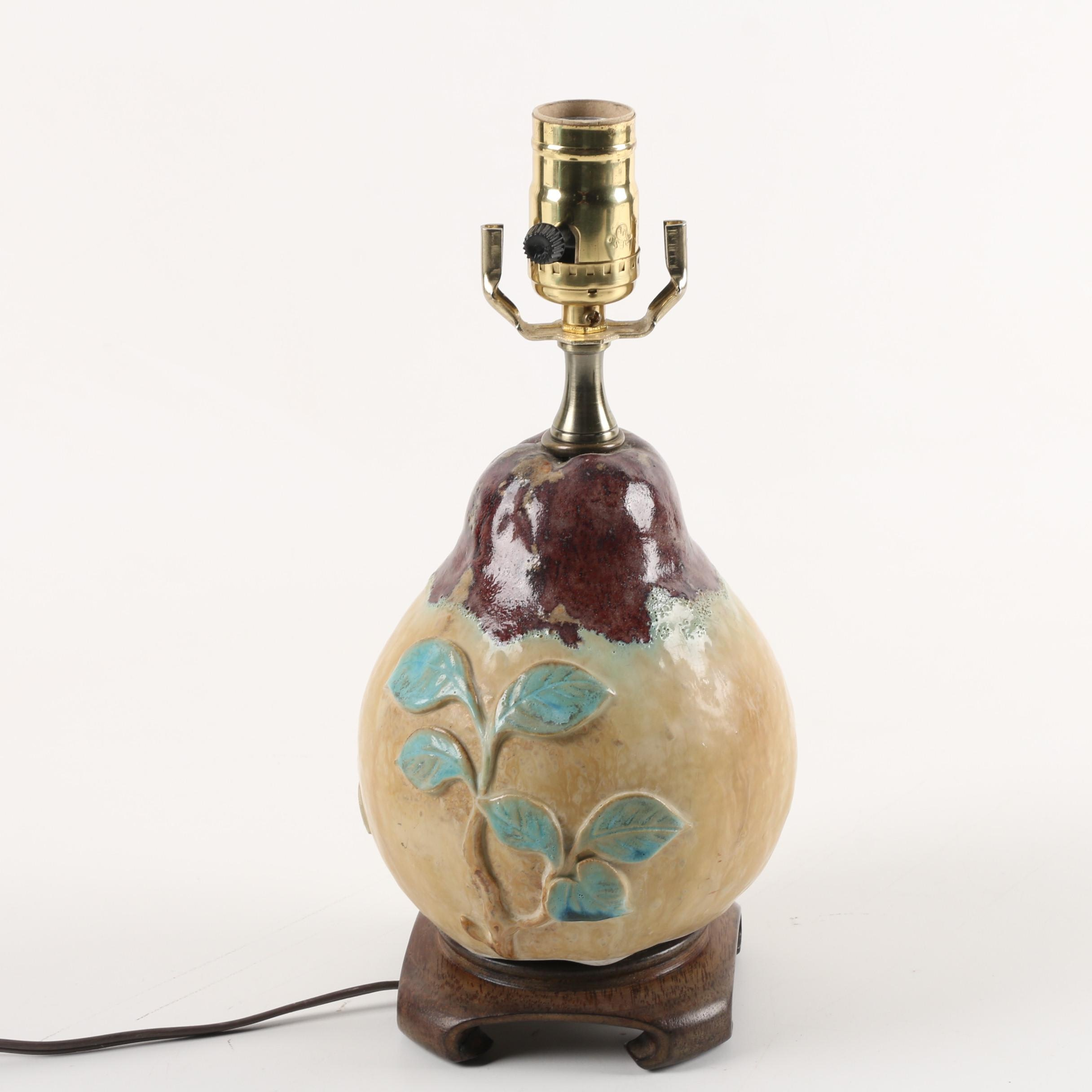 Vintage Chinese Stoneware Glazed Pyriform Ceramic Table Lamp