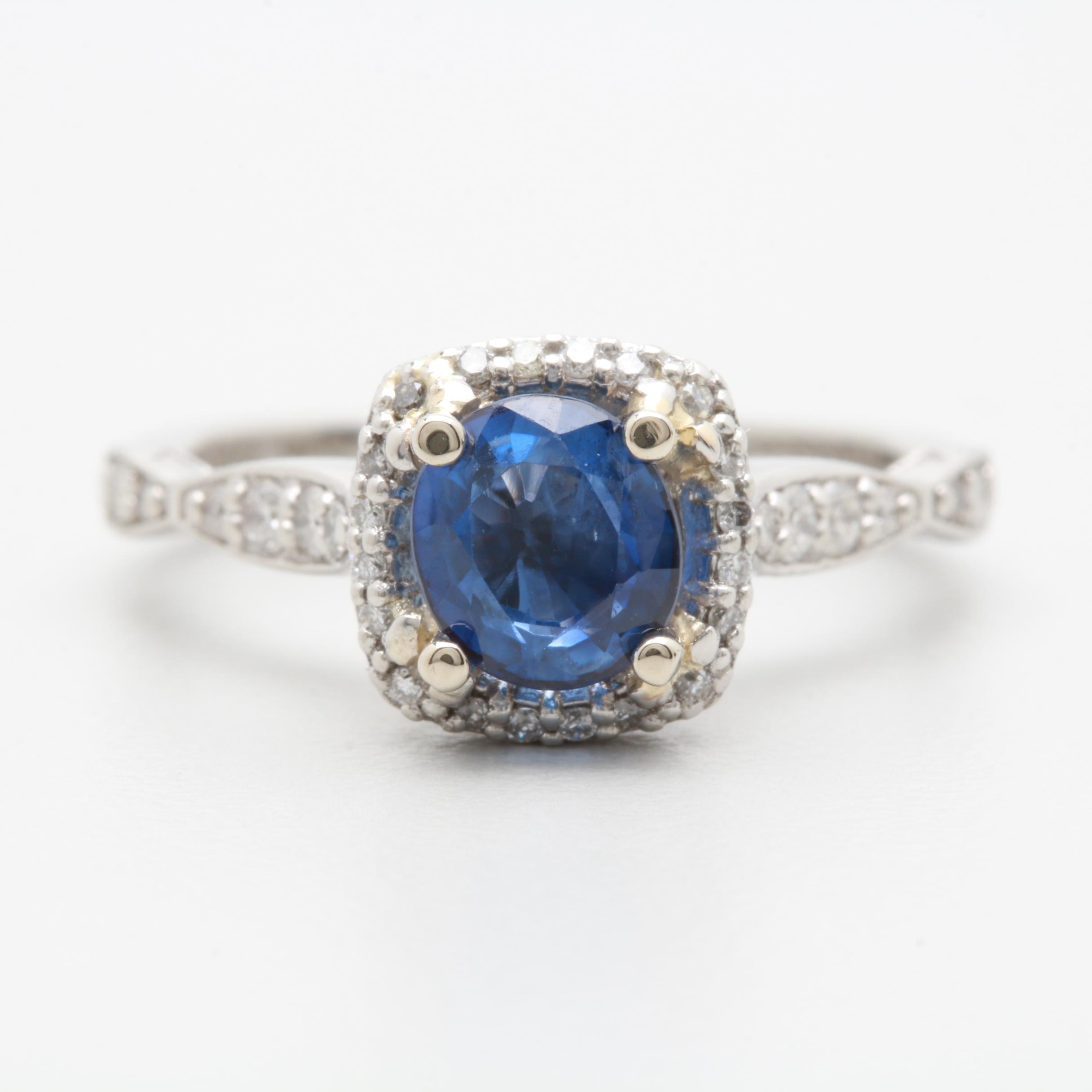 Tacori Platinum Blue Sapphire and Diamond Ring