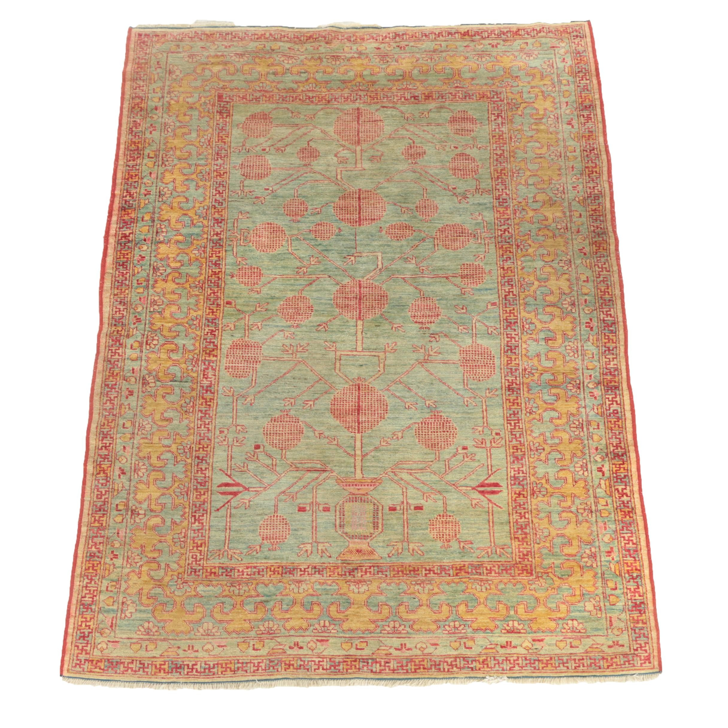 Hand-Knotted Turkestan Khotan Pomegranate Area Rug