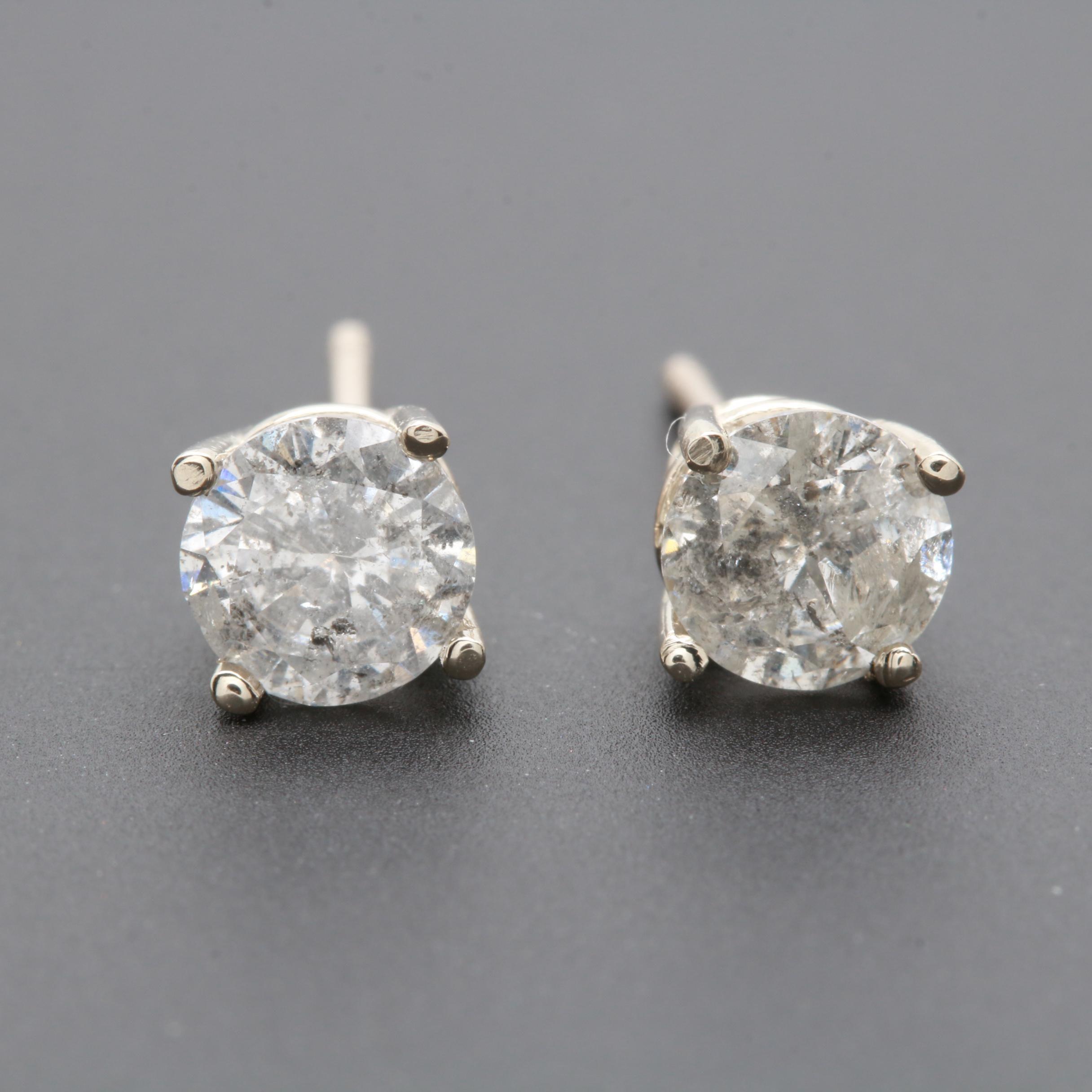 14K White Gold 1.01 CTW Diamond Studs