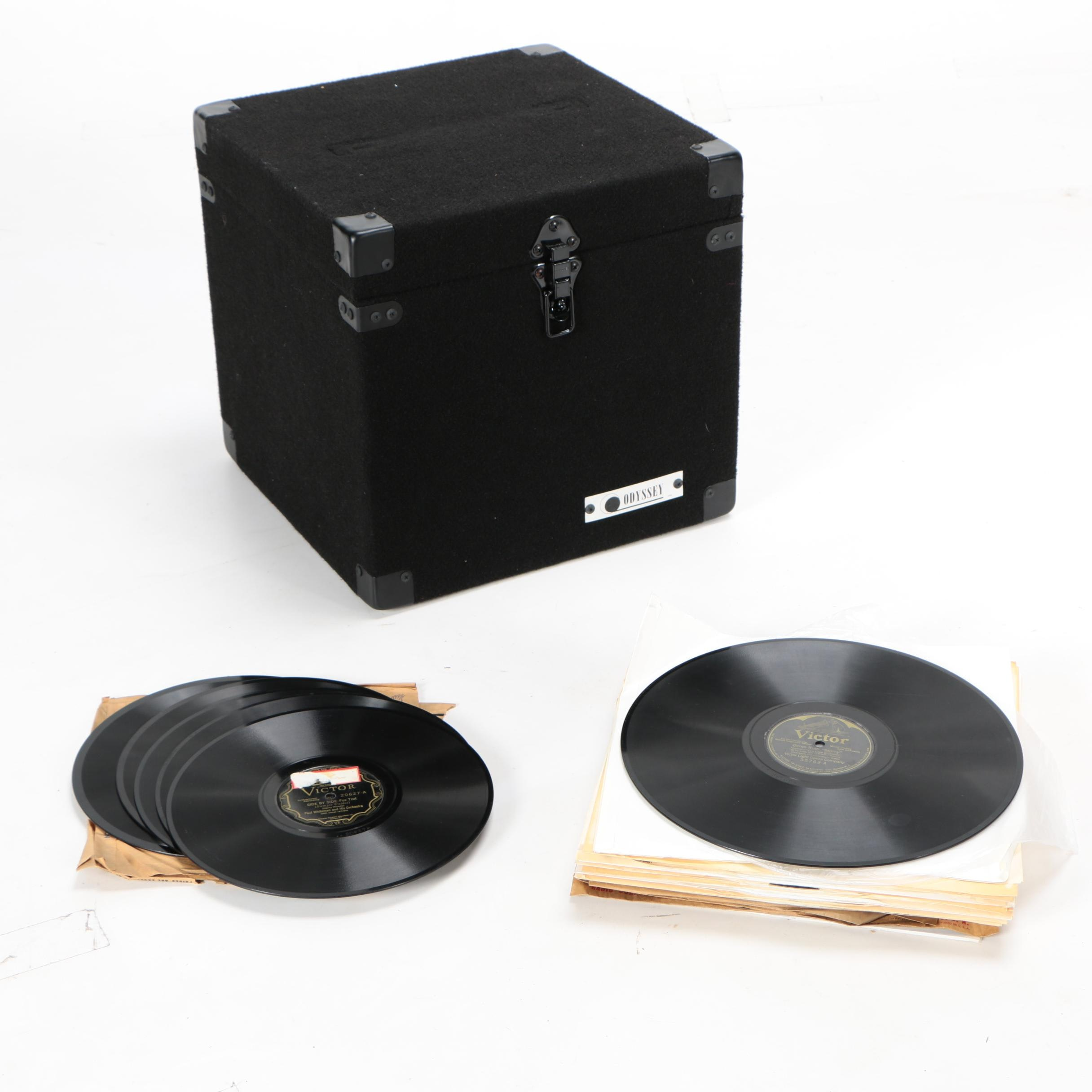 Vintage Jazz and Easy Listening Records in Storage Case