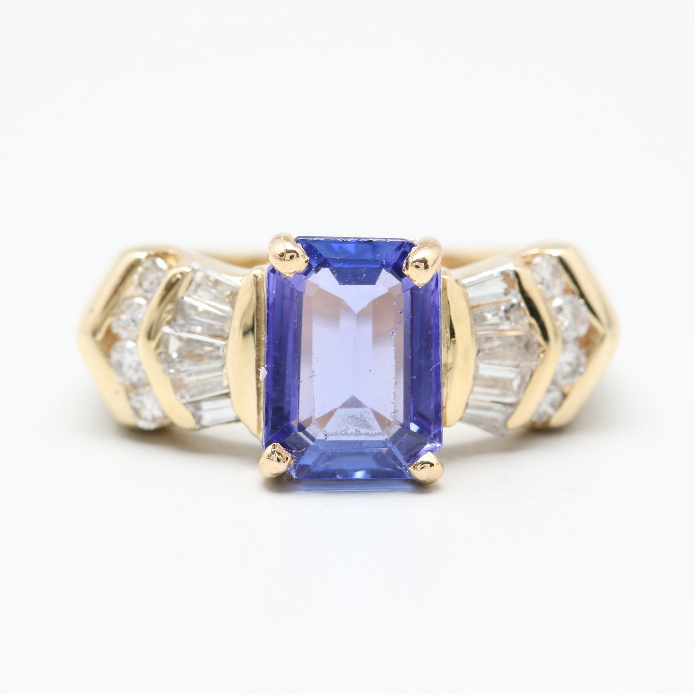 14K Yellow Gold Tanzanite and Diamond Ring with GIA Report
