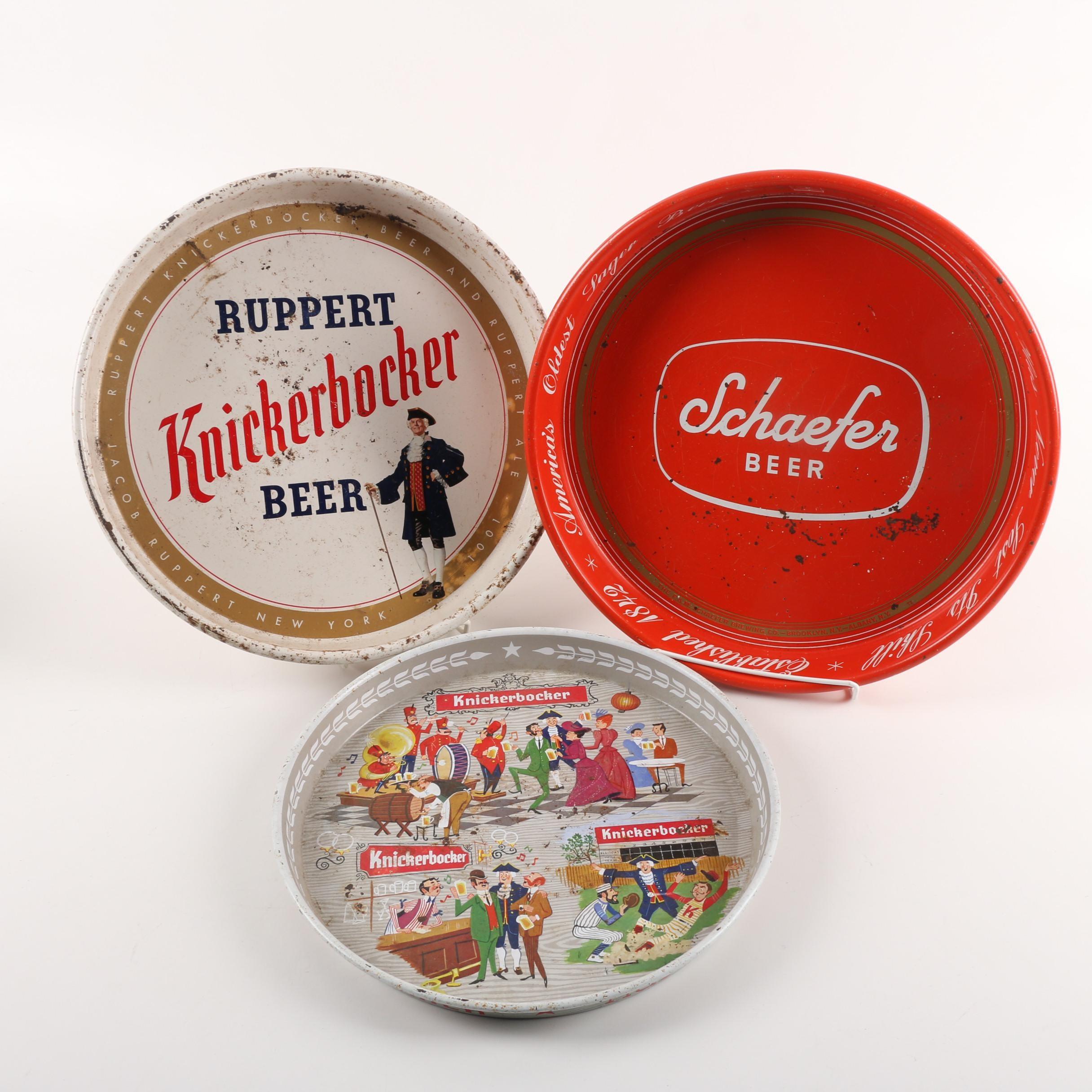 Vintage Knickerbocker and Schaefer Beer Metal Advertising Trays