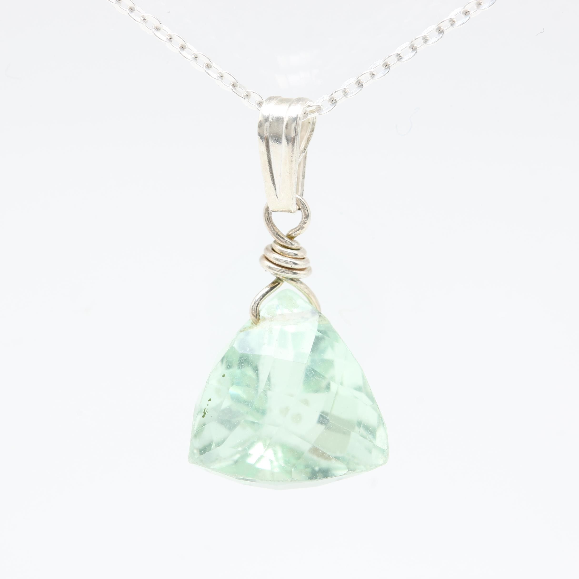 Sterling Silver Praseolite Necklace