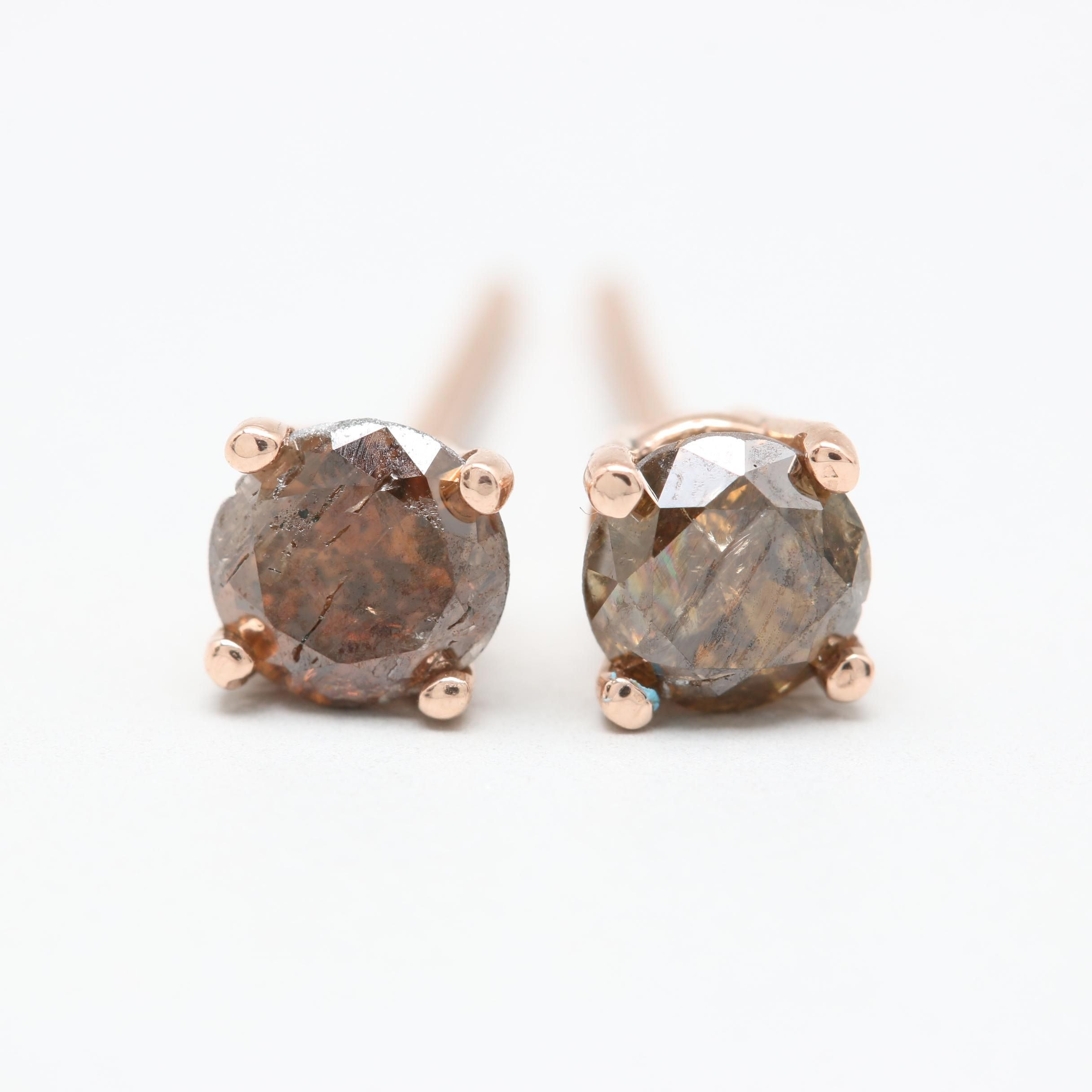 14K Rose Gold Brown Diamond Stud Earrings